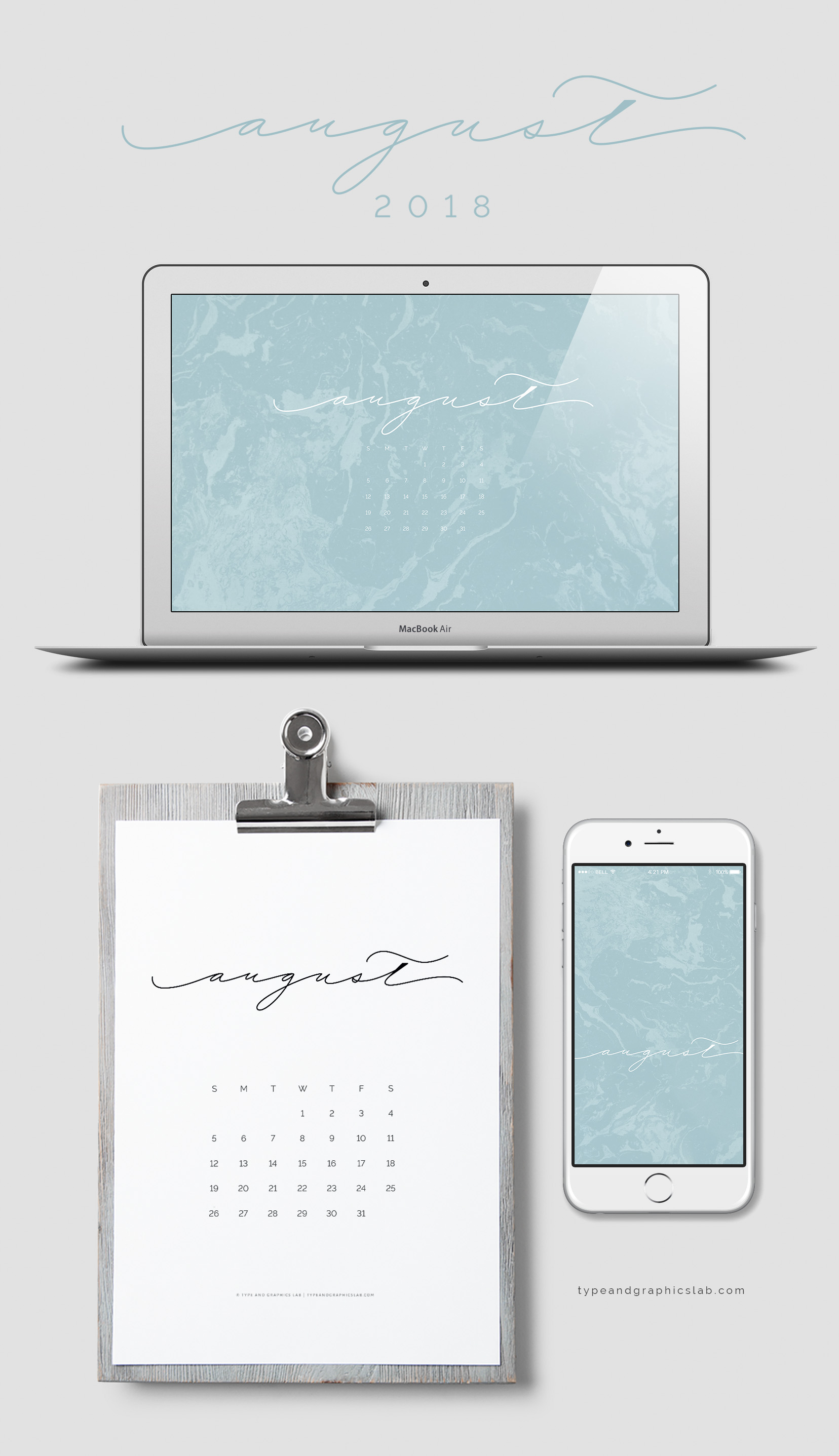 Download free desktop, mobile, and printable calendar for August 2018 |©typeandgraphicslab.com | For personal use only