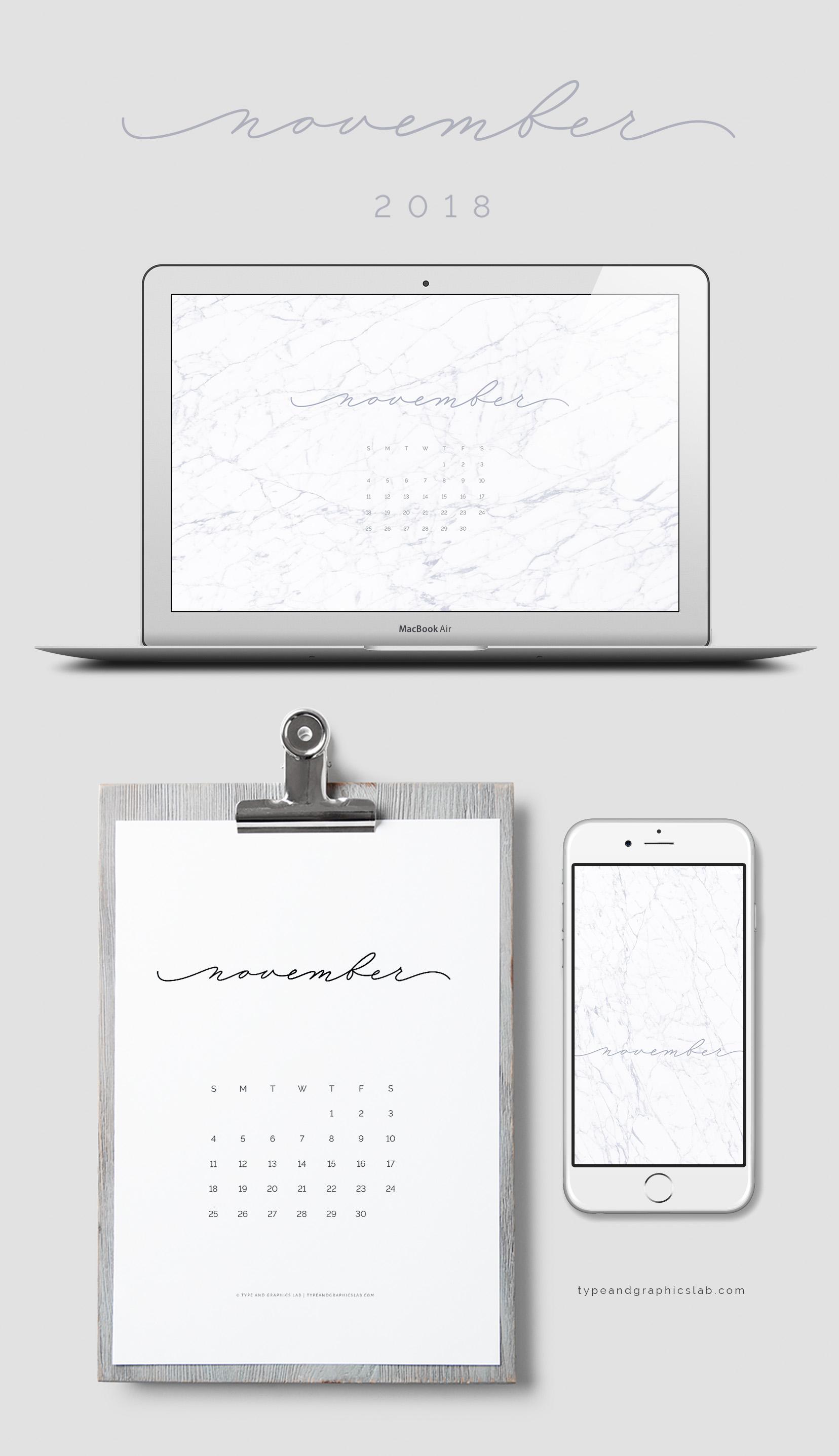 Download free desktop, mobile, and printable calendar for November 2018 |©typeandgraphicslab.com | For personal use only