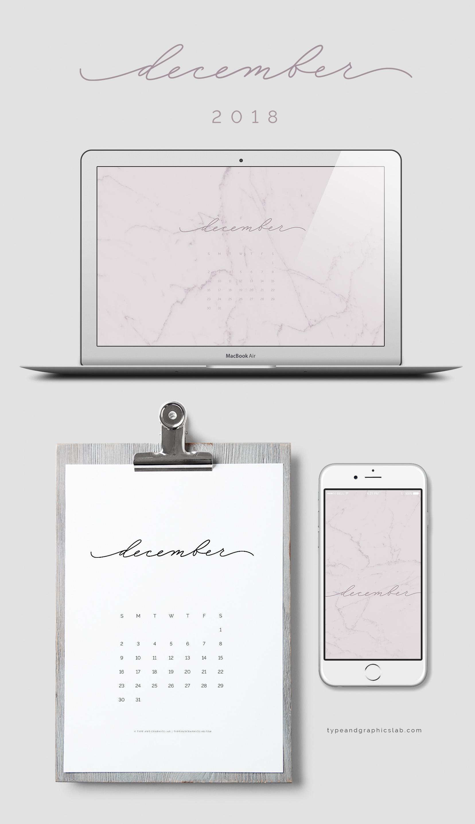 Download free desktop, mobile, and printable calendar for December 2018 |©typeandgraphicslab.com | For personal use only