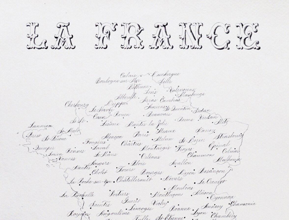 A hand written map of France   By Svetlana Postikova   typeandgraphicslab.com