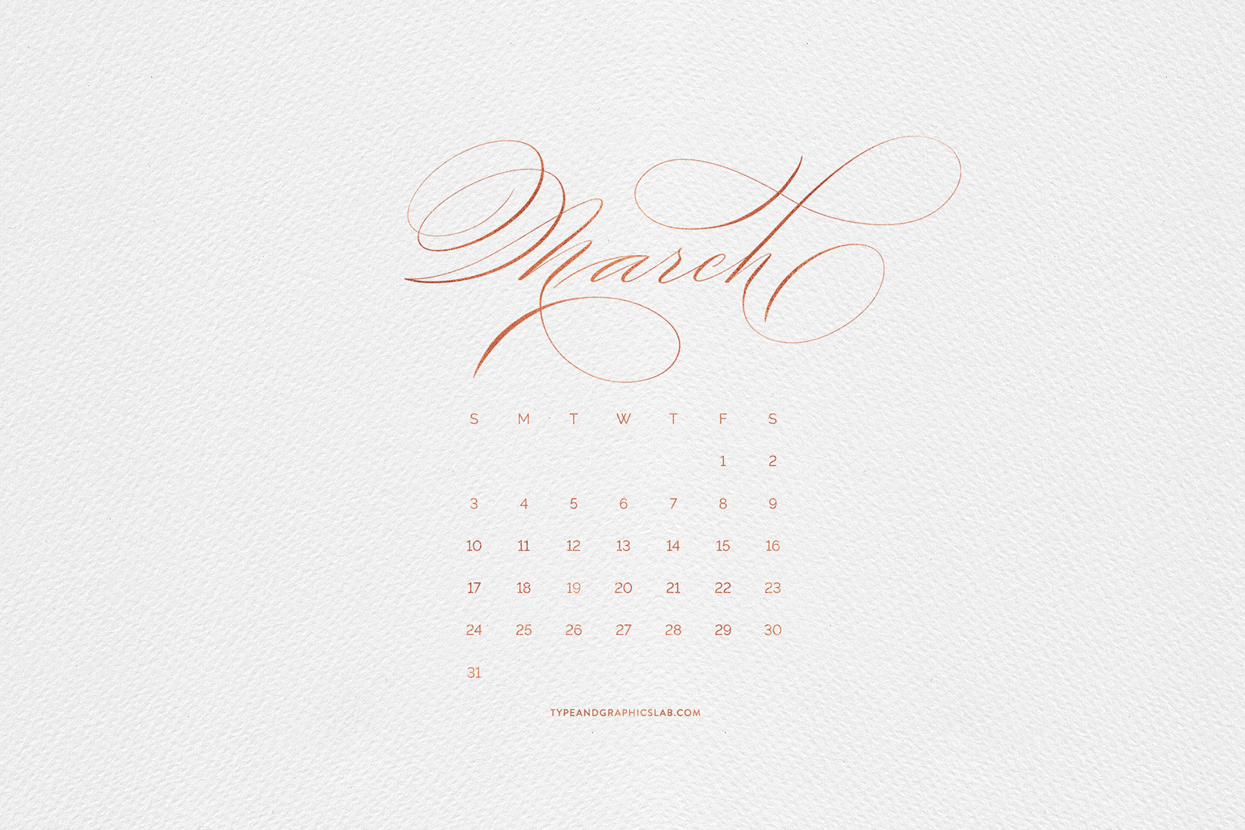 Download free desktop, mobile, and printable calendar for March 2019 | © typeandgraphicslab.com | For personal use only