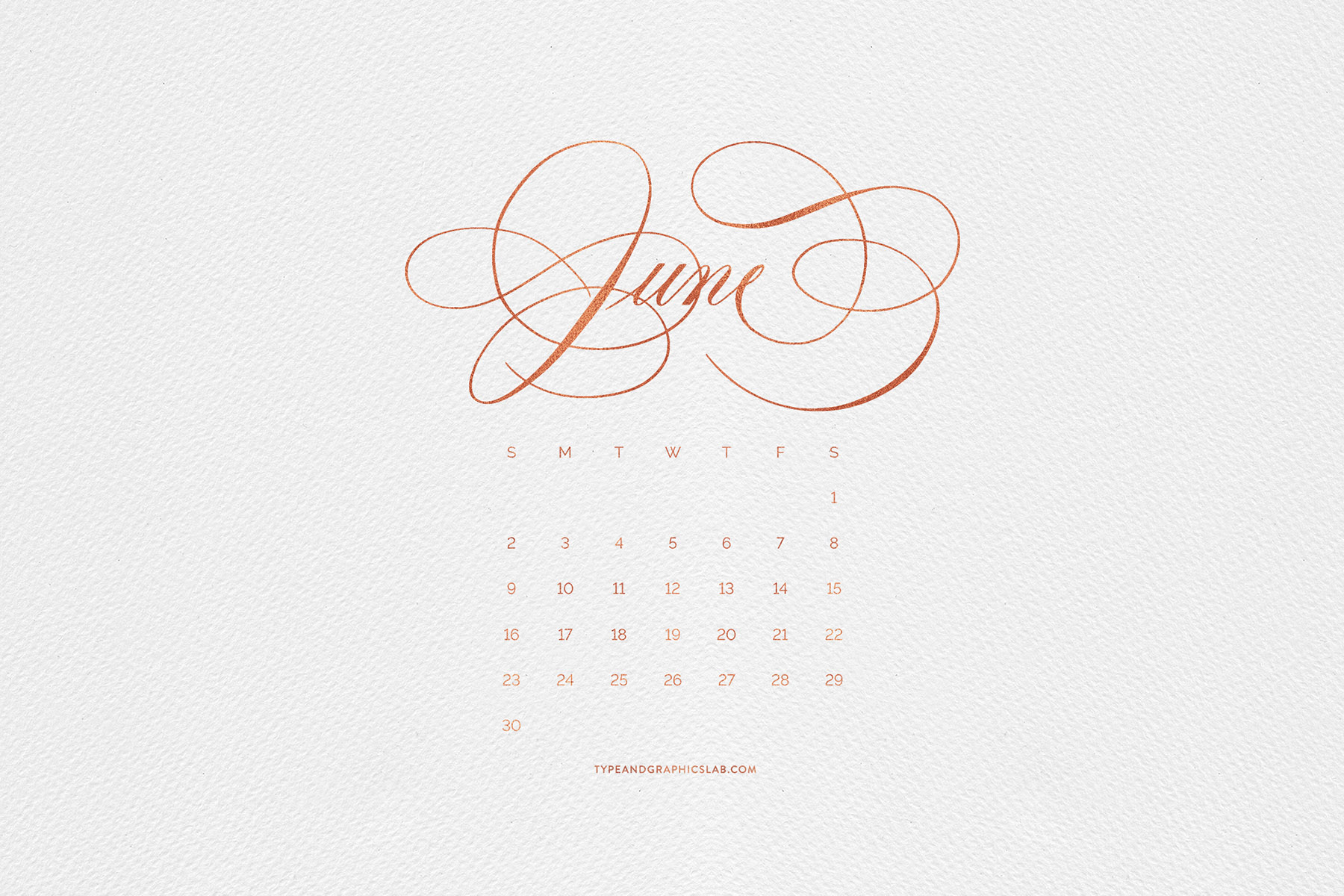 Download free desktop, mobile, and printable calendar for June 2019 | © typeandgraphicslab.com | For personal use only