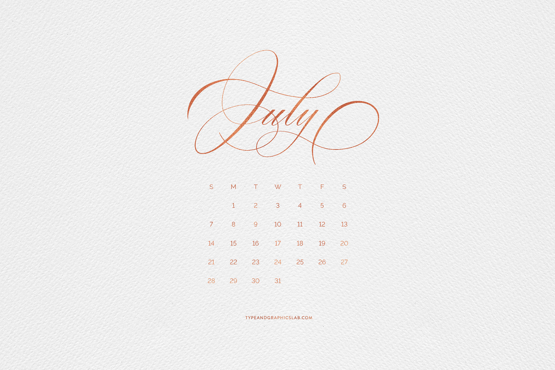 Download free desktop, mobile, and printable calendar for July 2019 | © typeandgraphicslab.com | For personal use only