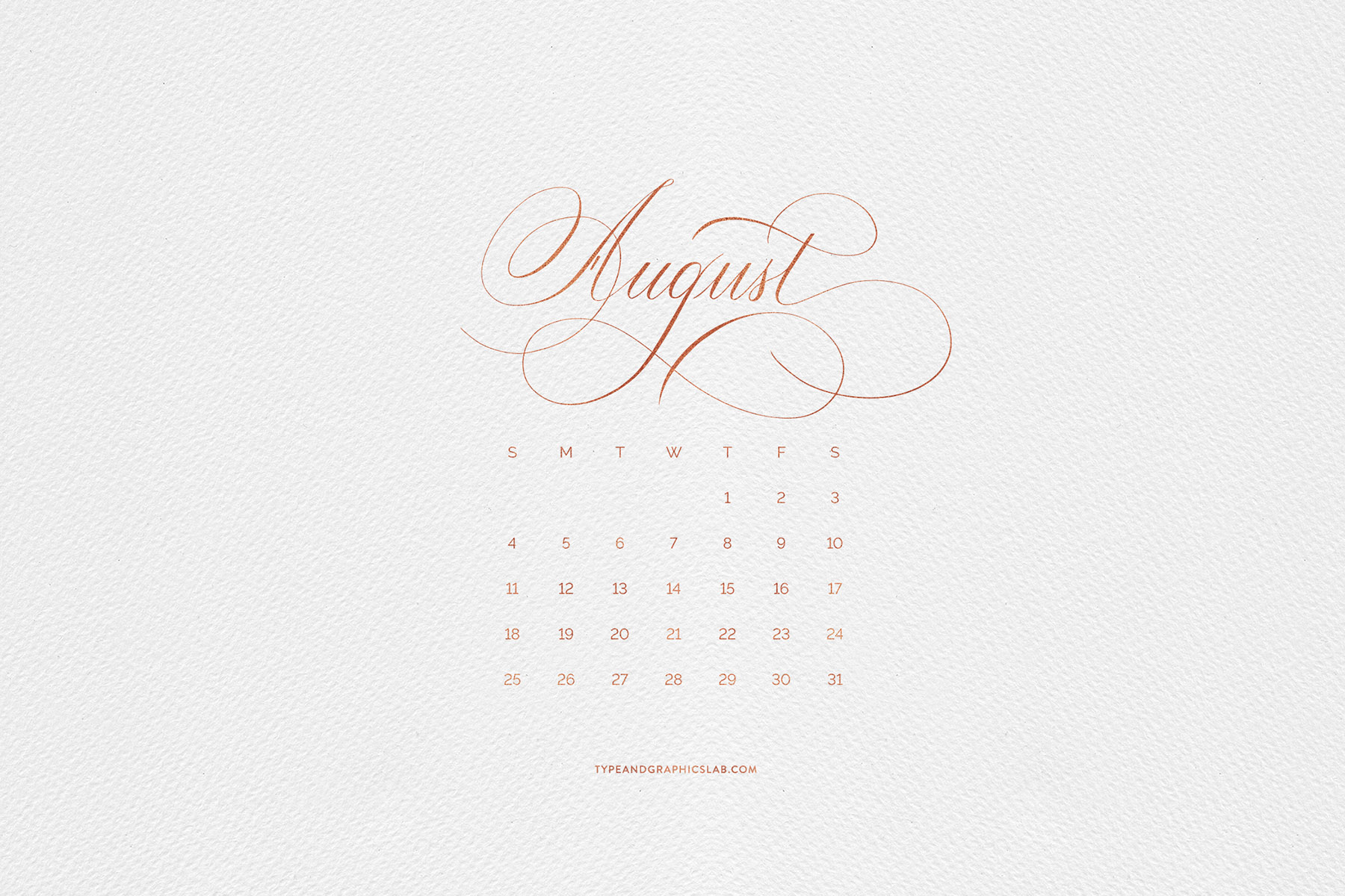 Download free desktop, mobile, and printable calendar for August 2019 | © typeandgraphicslab.com | For personal use only