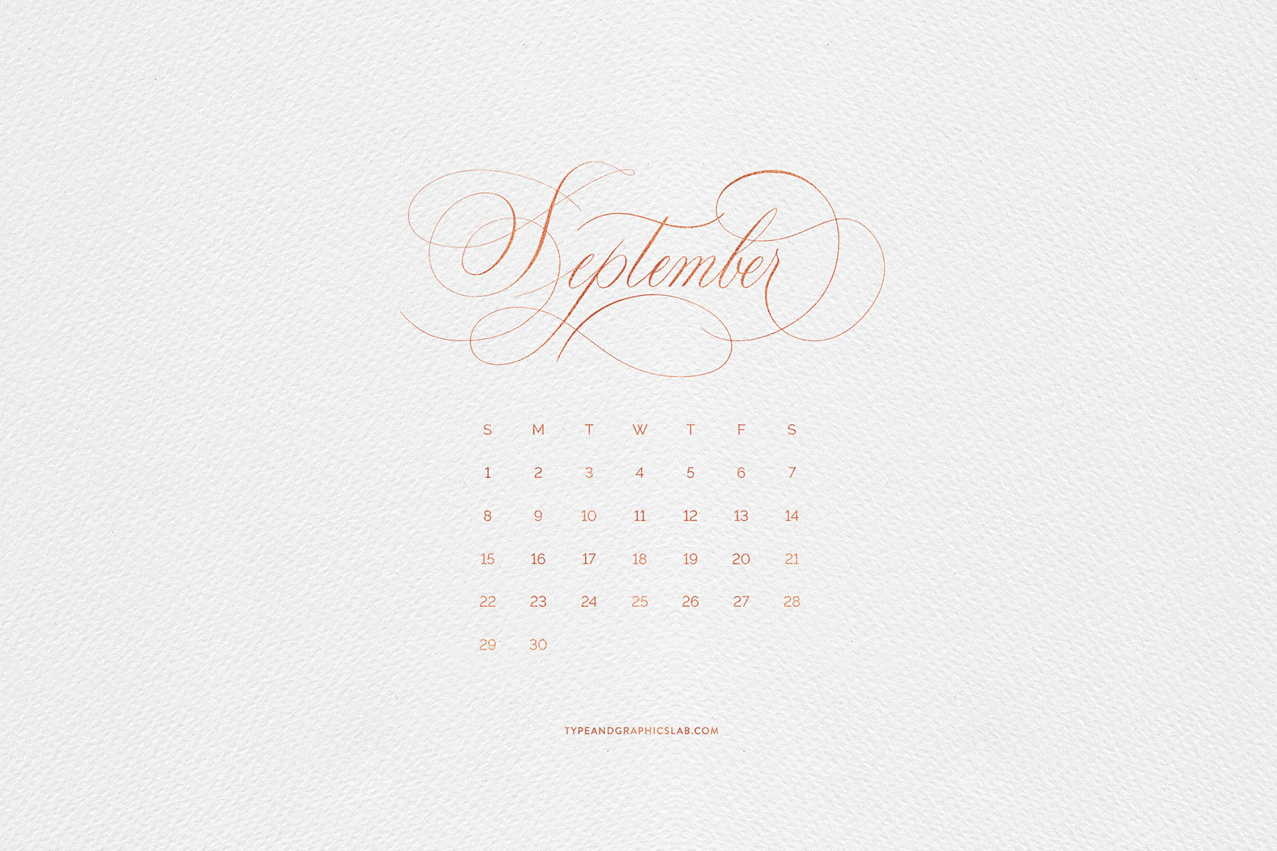 Download free desktop, mobile, and printable calendar for September 2019 | © typeandgraphicslab.com | For personal use only