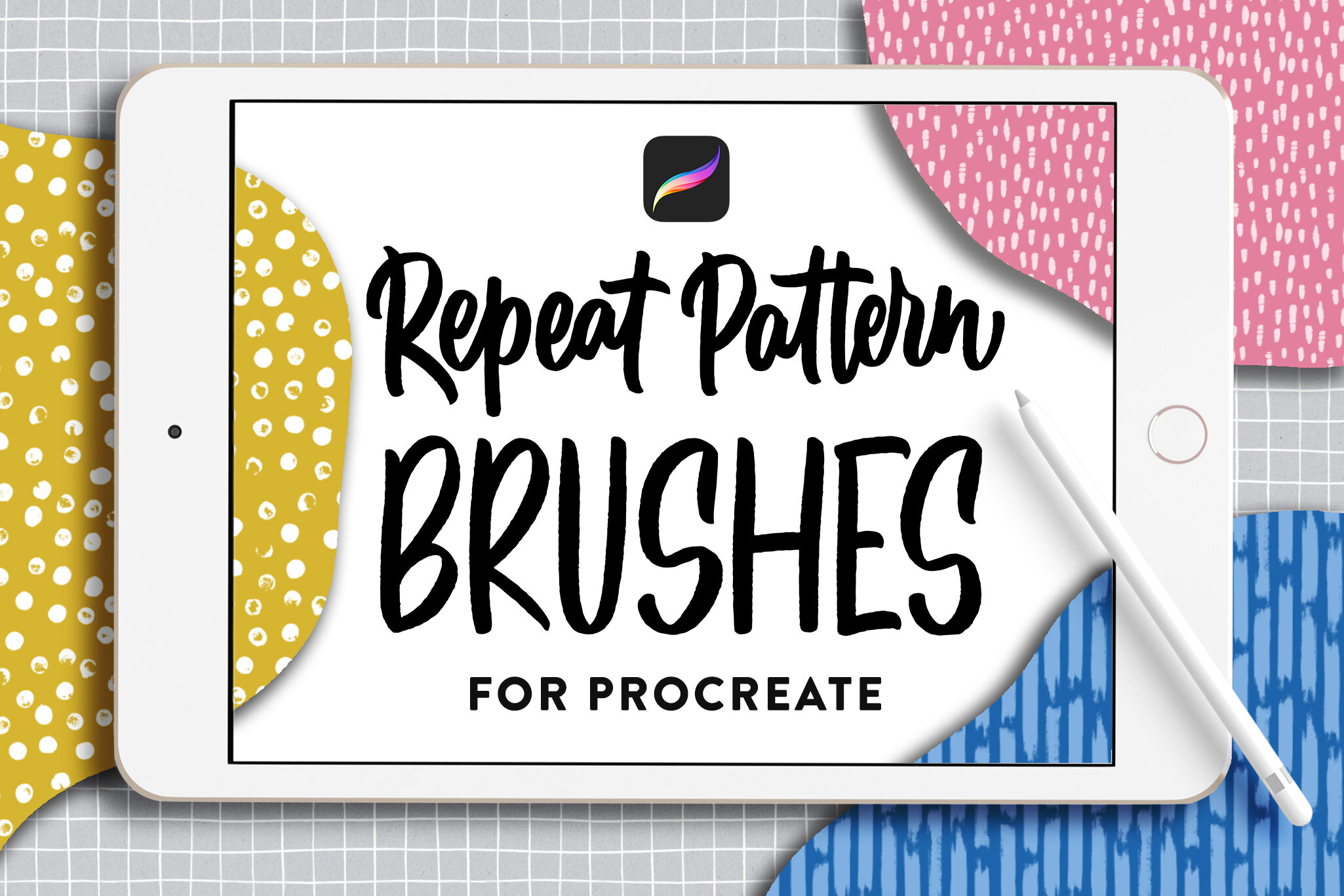 Repeat Pattern Brushes for Procreate by Type and Graphics Lab. Download here: https://crmrkt.com/JpVRmM