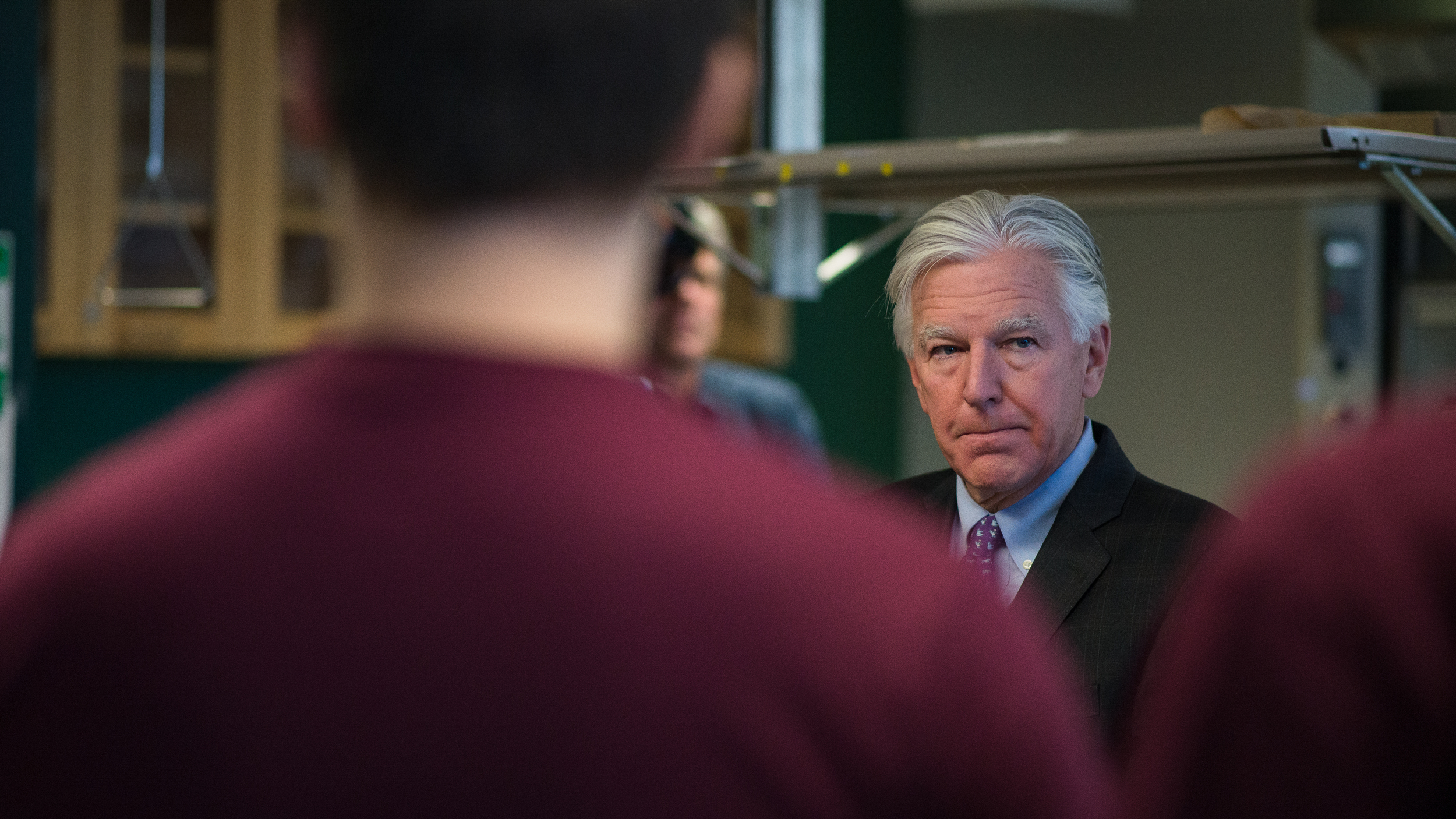 Marty Meehan during his visit to UMass Amherst on his UMass 5-in-1 inauguration tour. Photo by Judith Gibson-Okunieff. (Nov. 9, 2015)