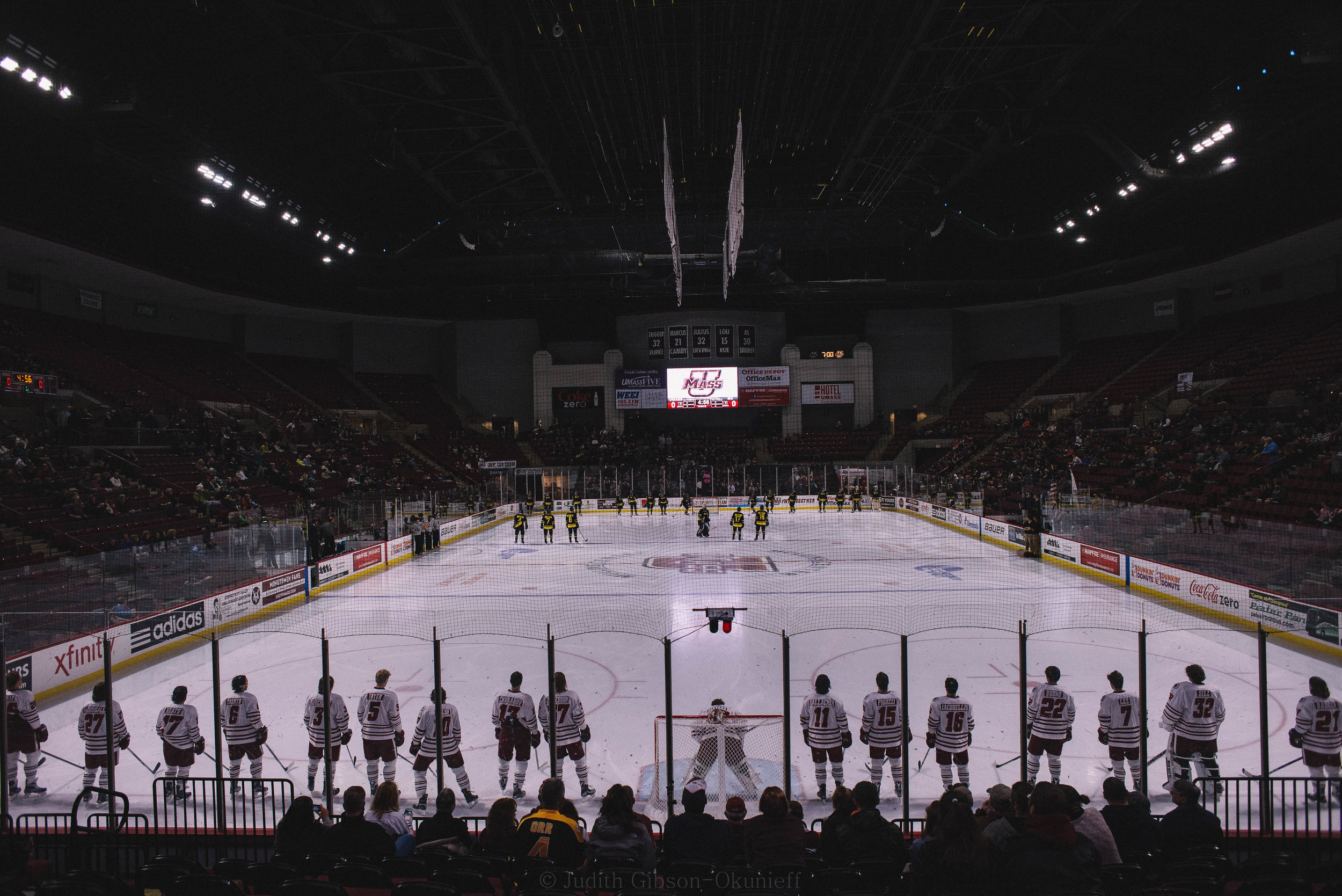 UMass Men's Ice Hockey lost to Merrimack 4-2 at the Mullins Center Friday night.