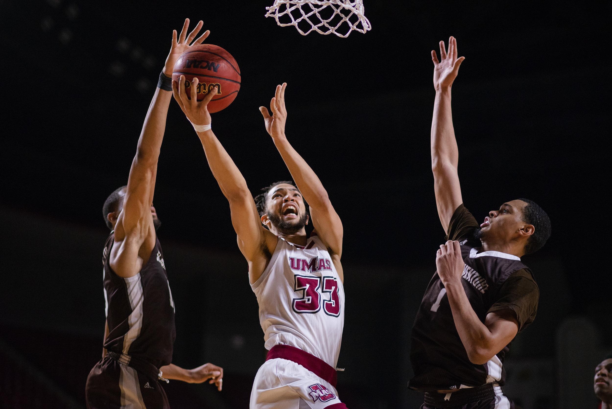 UMass Men's Basketball vs St. Bonaventure at the Mullins Center, Wed. Jan. 23, 2019.  (Photo by Judith Gibson-Okunieff)