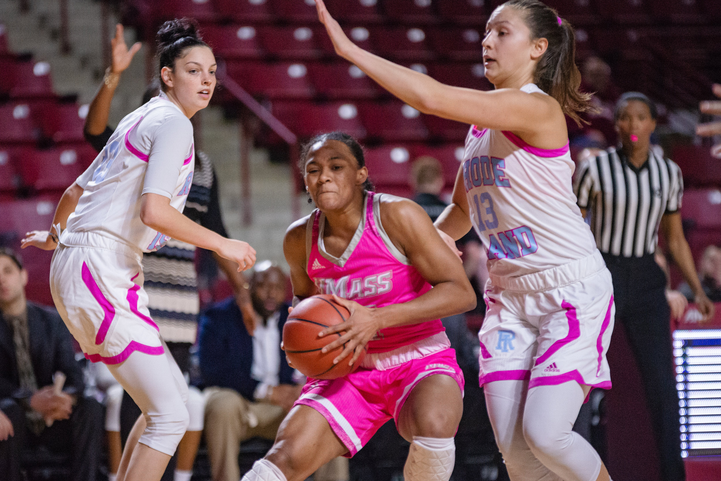 UMass Women's Basketball defeated Rhode Island on Sunday Feb. 10, 2019 at the Mullins Center in Amherst.  (Photo by Judith Gibson-Okunieff)