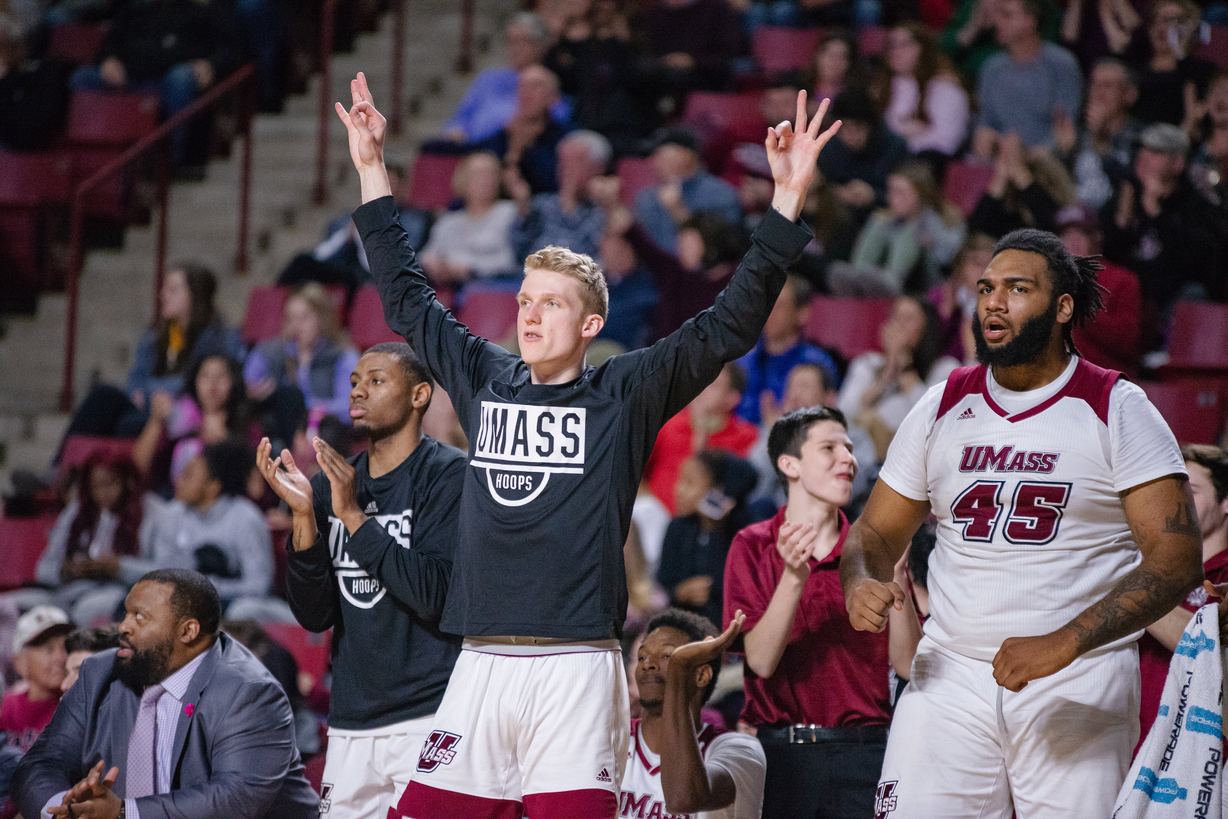 UMass Men's Basketball gets first conference win against URI at the Mullins Center on Sunday Jan. 27, 2019.  (Photo by Judith Gibson-Okunieff)