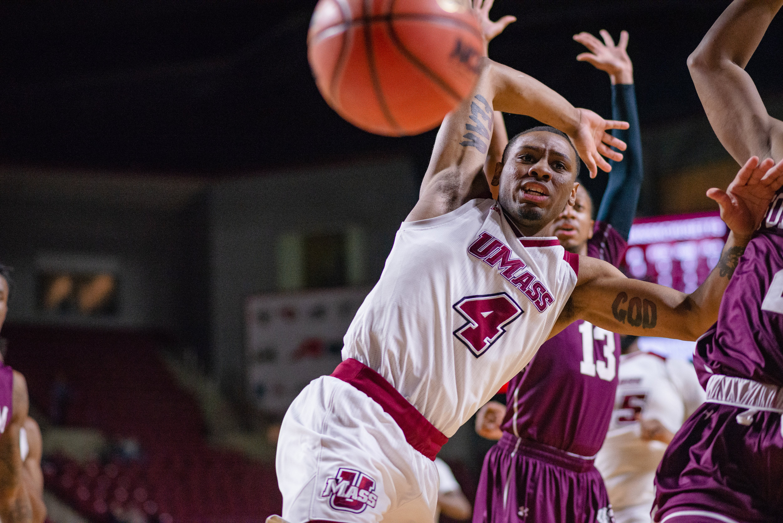 UMass Men's Basketball vs Fordham on Feb. 6, 2019 at the Mullins Center in Amherst.  (Photo by Judith Gibson-Okunieff)
