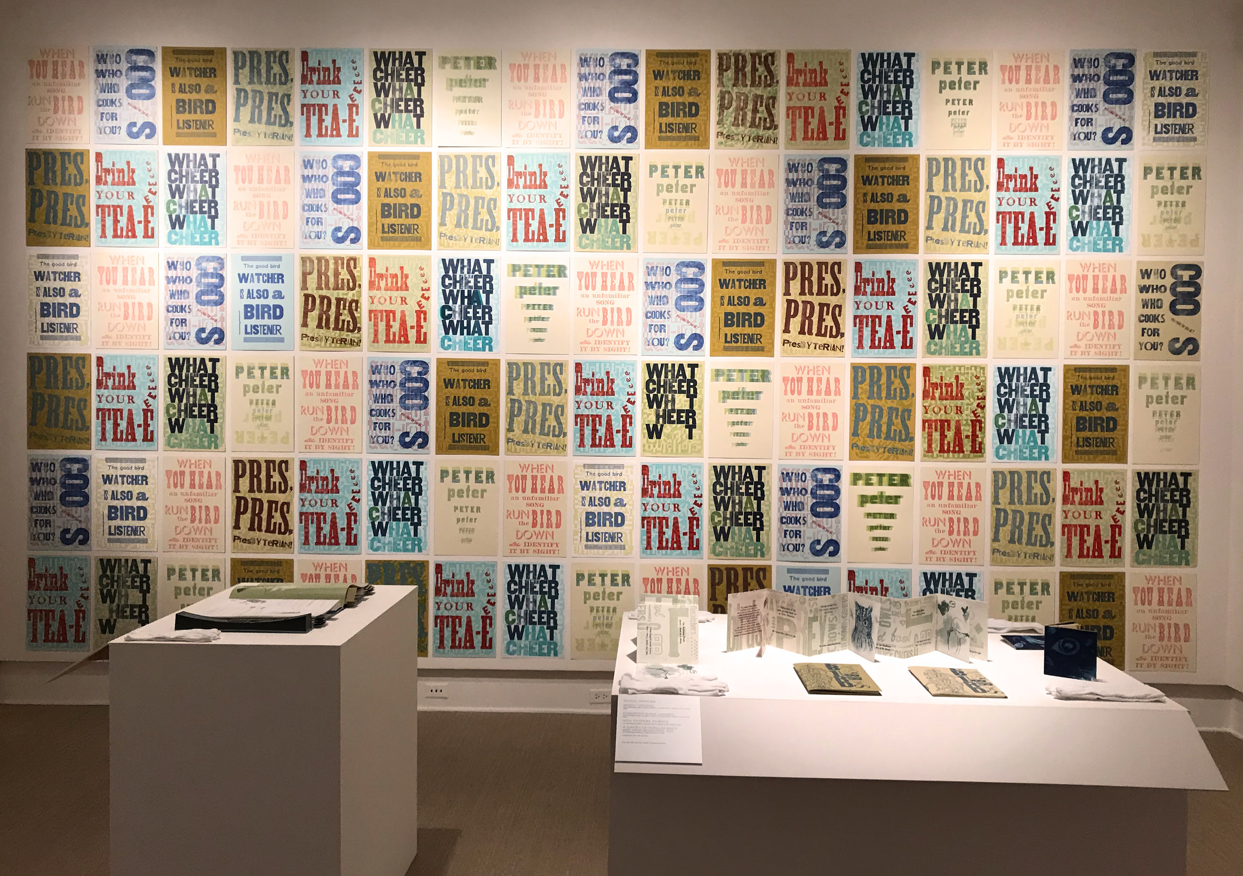 Bird Song Broadsides and various artist's books installed at the Cornell Fine Arts Museum, April 2018, photo by Rachel Simmons