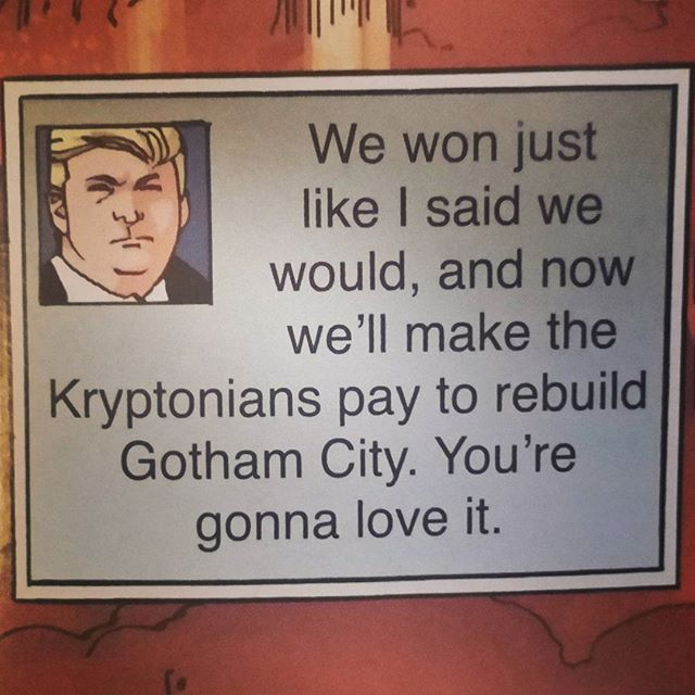 """Gives new dimensions to the subtitle """"The Master Race"""" #ArtImitatesLife #TheDonald #EspeciallyRelevant #DarkKnightThreeIssue7"""