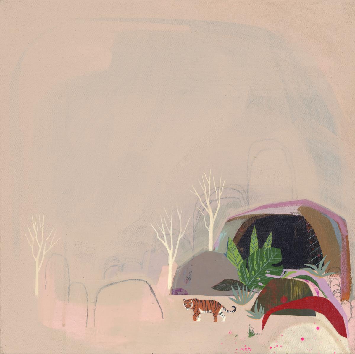 """Dream of the Fight"", 2018, 12 x 12"" Acrylic on Canvas. This piece is part of GR2's 15th Anniversary Show. August 4 - 15, 2018  A group exhibition featuring  Ako Castuera, Robert Sato, Darren and Trish Inouye, Theo Ellsworth, Dehara Yukinori, KAMI Hitotzuki, Jeni Yang, Huntz Liu, Sean Chao, Shizu Saldamando, Stickymonger, Mari Inukai, Godeleine de Rosamel, Geoff McFetridge, Seonna Hong, Yusei Abe, Jen Tong, Yoskay Yamamoto, Susie Ghahremani, Stella Im Hultberg, Gary Baseman, Mark Todd, Esther Park Watson, Nikki McClure, Linnea Strid, Mark Nagata, Ed Trask, Matt Furie, Albert Reyes, Luke Chueh, Deth P Sun, kozyndan, Shawn Cheng, Nathan Ota, Maggie Chiang, Andrew Hem"