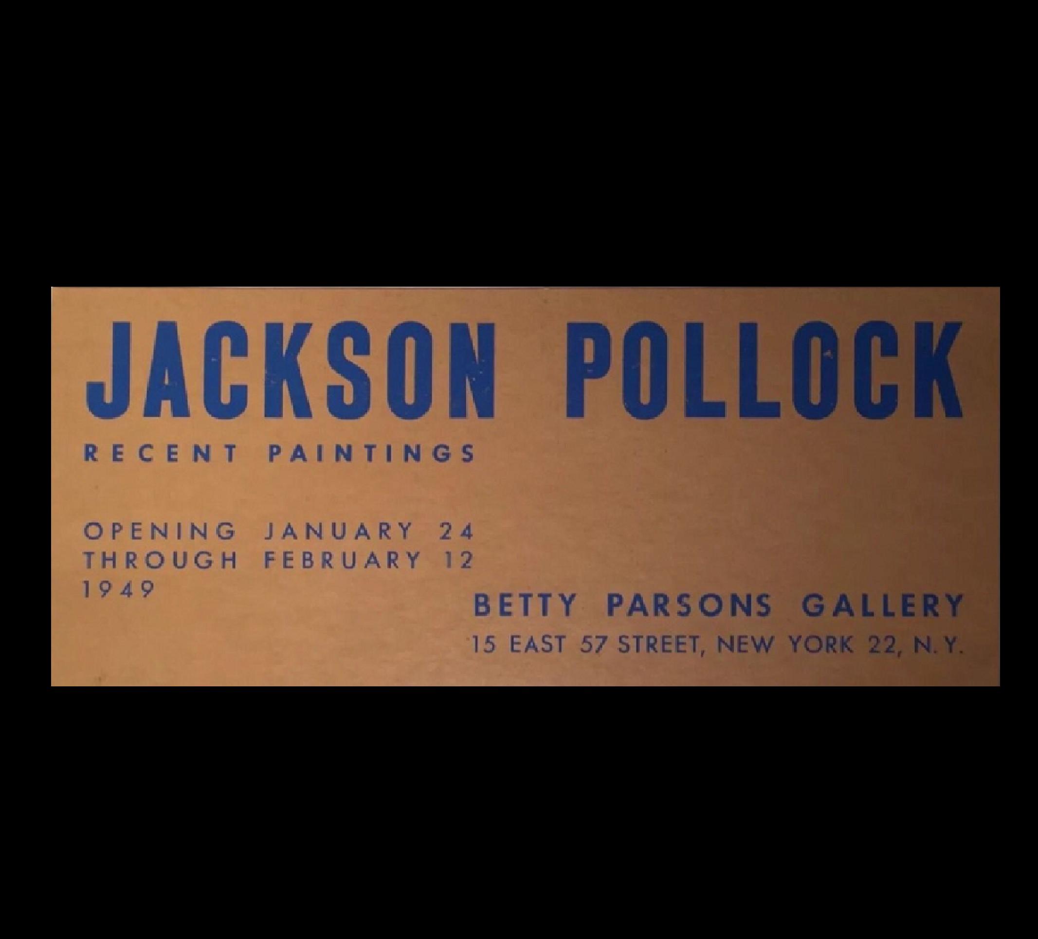 """Jackson Pollock"",  1949, exhibition invitation, Betty Parsons Gallery NYC."