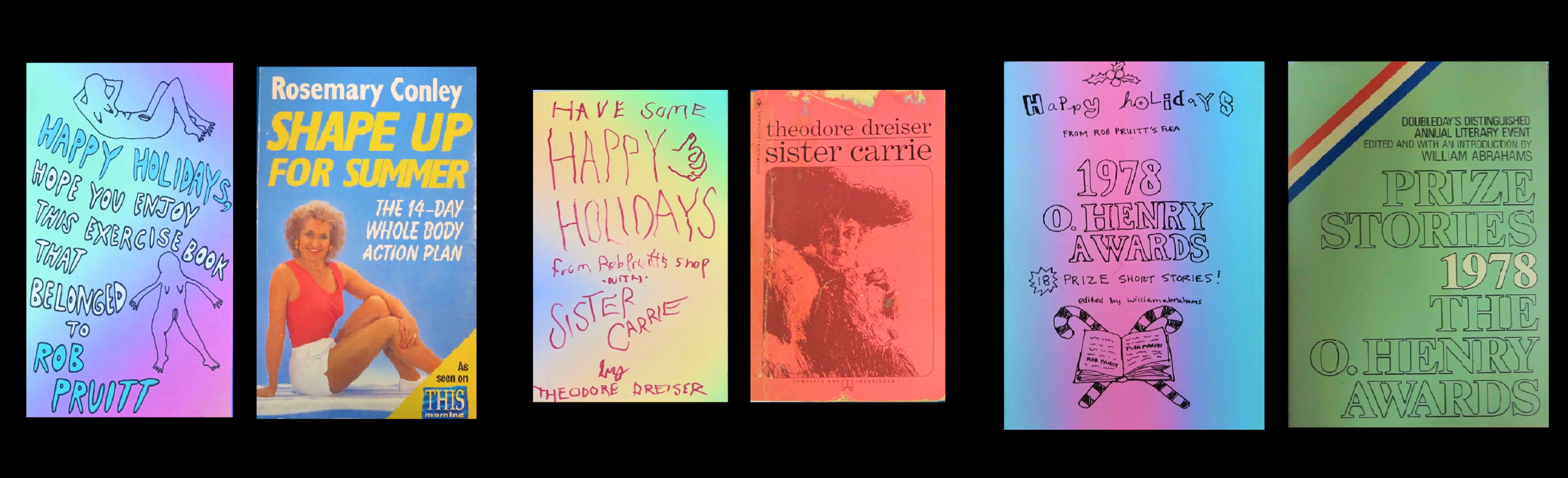 """HOLIDAY"" , 2017, New Painted Dust Jackets for Vintage Paperbacks,  Each UNIQUE ."