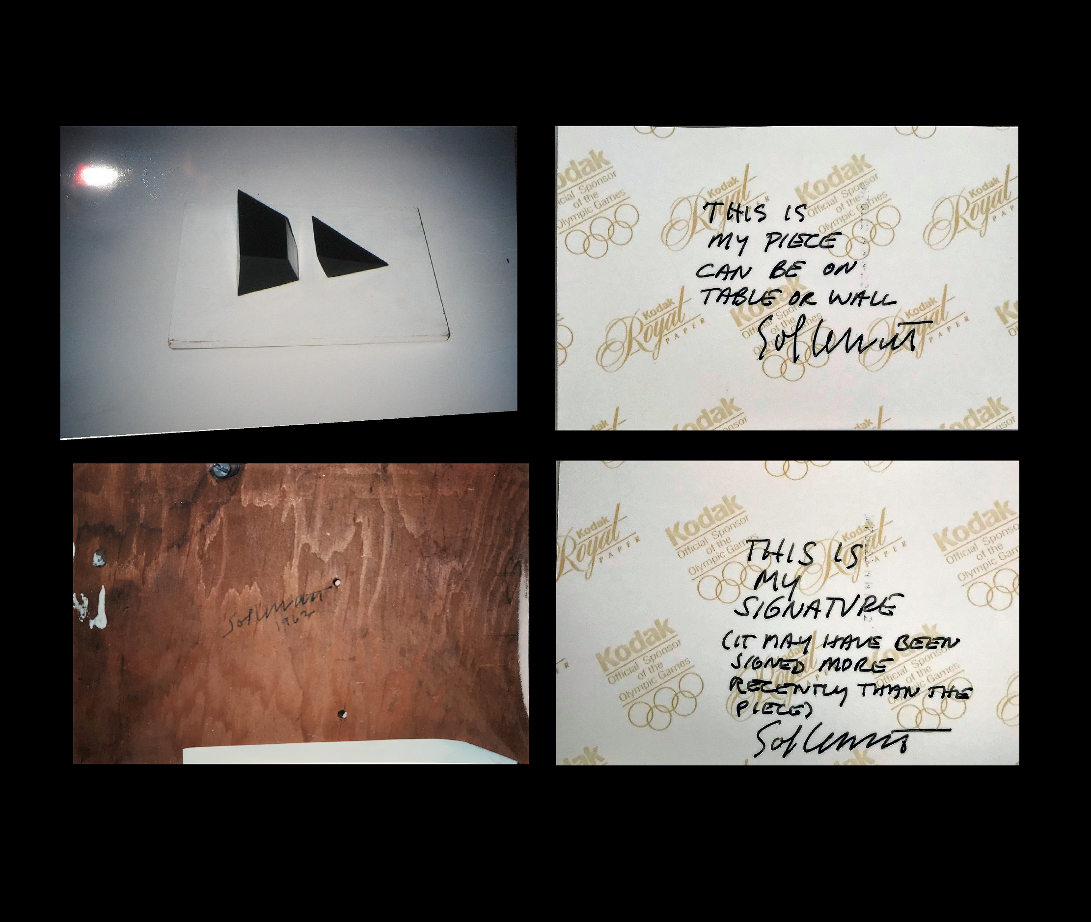 Two (2) Signed/ Annotated Photographs  of his 1962 Structure (the LeWitt Collection), 1962-1997, 4 × 6 in (10.2 × 15.2 cm) each.