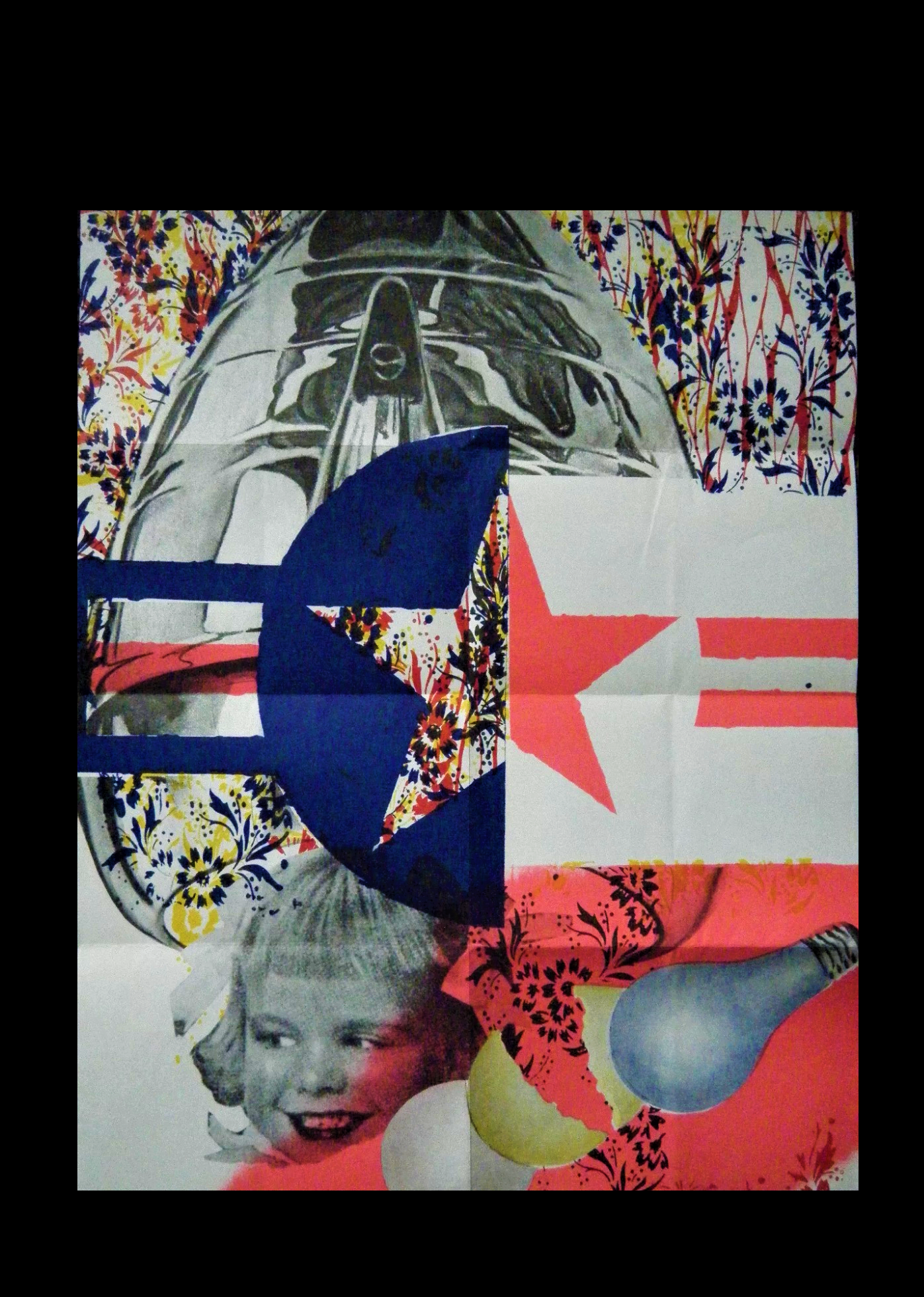 """'F-111',  1965, mailer/poster /invitation, created to announce a show of Rosenquist's """"F-111"""" painting at Leo Castelli Gallery in 1965."""
