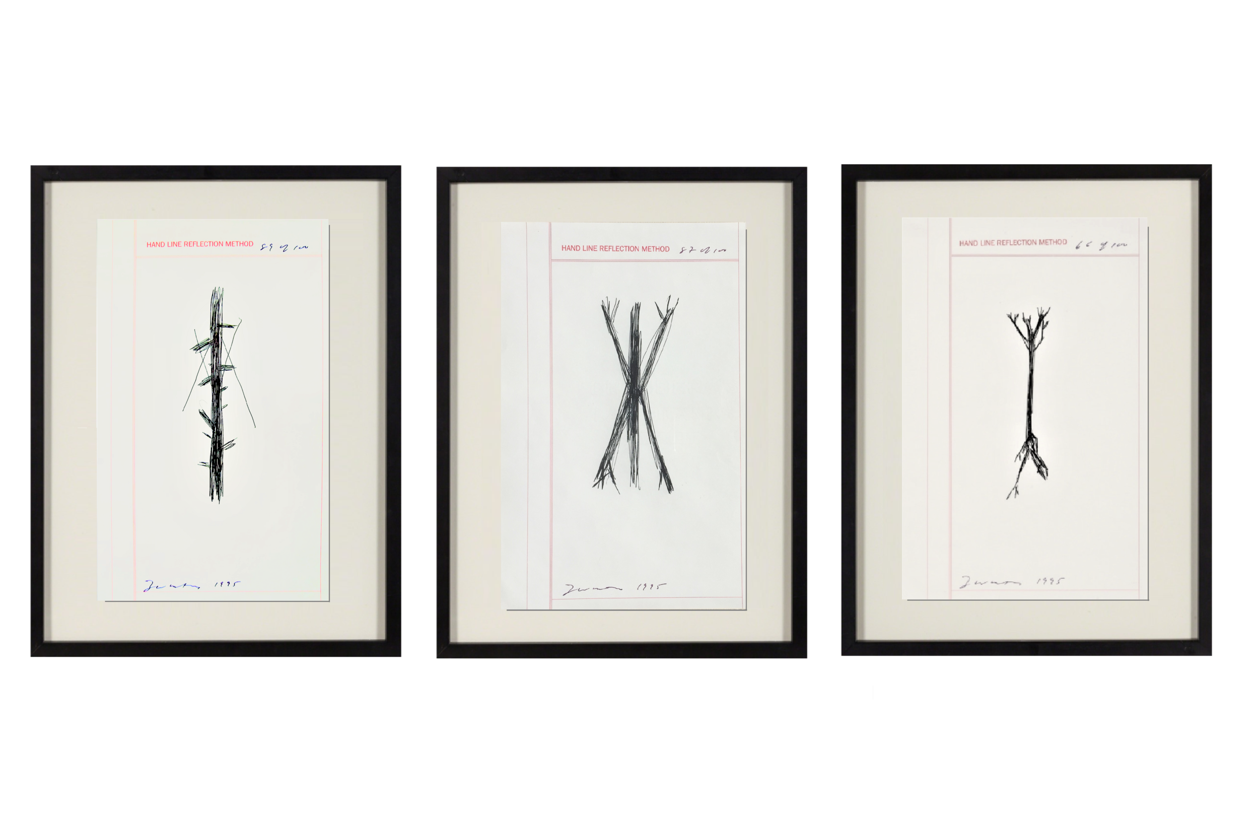 """""""Hand Line Reflection Method"""" , 1995, set of 3, ink drawings, edition of 100."""