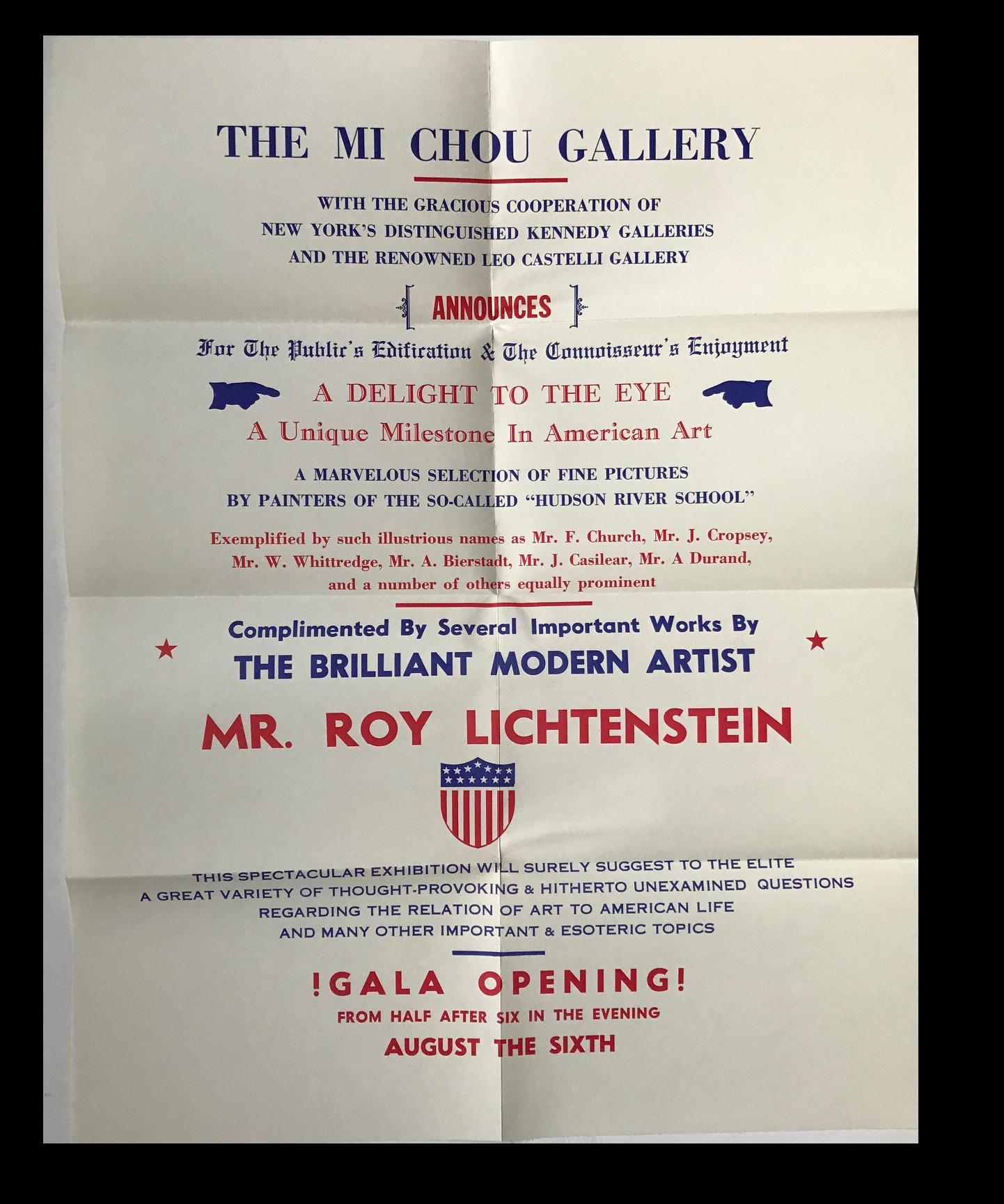 """""""Mr. Roy Lichtenstein"""" , 1962, Exhibition Mailer / Poster / Invitation, Mi Chou Art Gallery/ Kennedy Gallery/ Leo Castelli Gallery NYC,."""