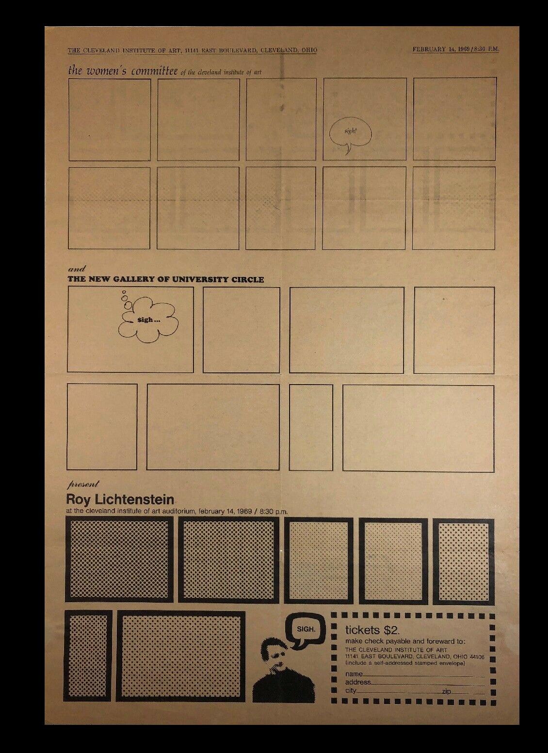 """""""Roy Lichtenstein"""",  1969, Exhibition Invitation Mailer Poster, Cleveland Institute of Art,  SOLD"""