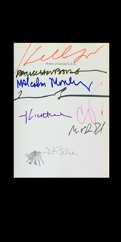 """25 YEARS STUDIO- Gemini G.E.L."",  1993, SIGNED by 8 Contemporary Artists-  Borofsky, Kelly, Lichtenstein, Morley, Oldenburg, Rauschenberg"
