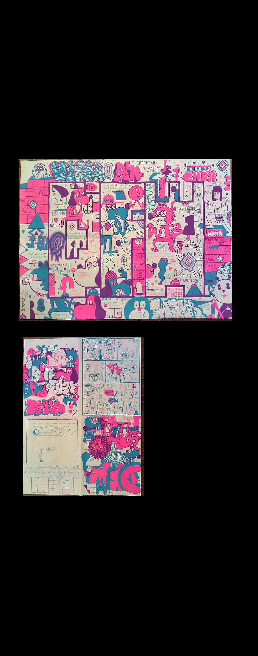 """DFW Comics #1"",  Barry McGee, Isaac T Lin, Andrew Jeffery Wright ,  2011, Edition of 300, unsigned, Double-Sided Poster,,  8-1/2 × 23 in (21.6 × 58.4 cm"