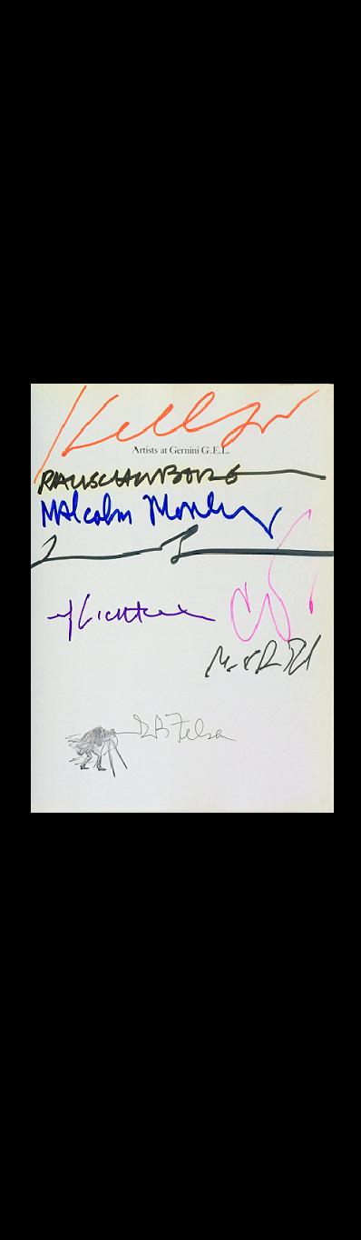 """""""25 years studio""""- GEMINI G.E.L., SIGNED: :Borofsky, Felsen (Founder Gemini G.E.L.), Kelly, Lichtenstein, Morley, Oldenburg, Rauschenberg, Rosenthal (Curator Guggenheim Museum)"""