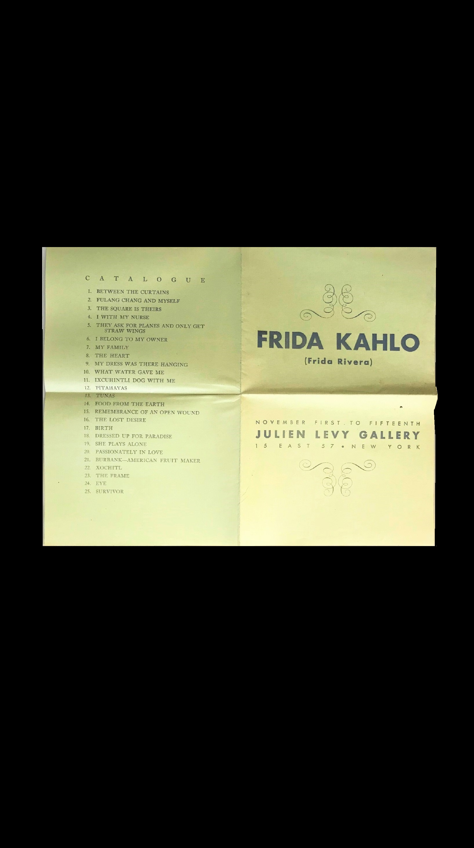 """Frida Kahlo- (Frida Rivera)"" , 1938, Rare Exhibition Catalogue, November First To Fifteenth, Julien Levy Gallery NYC."