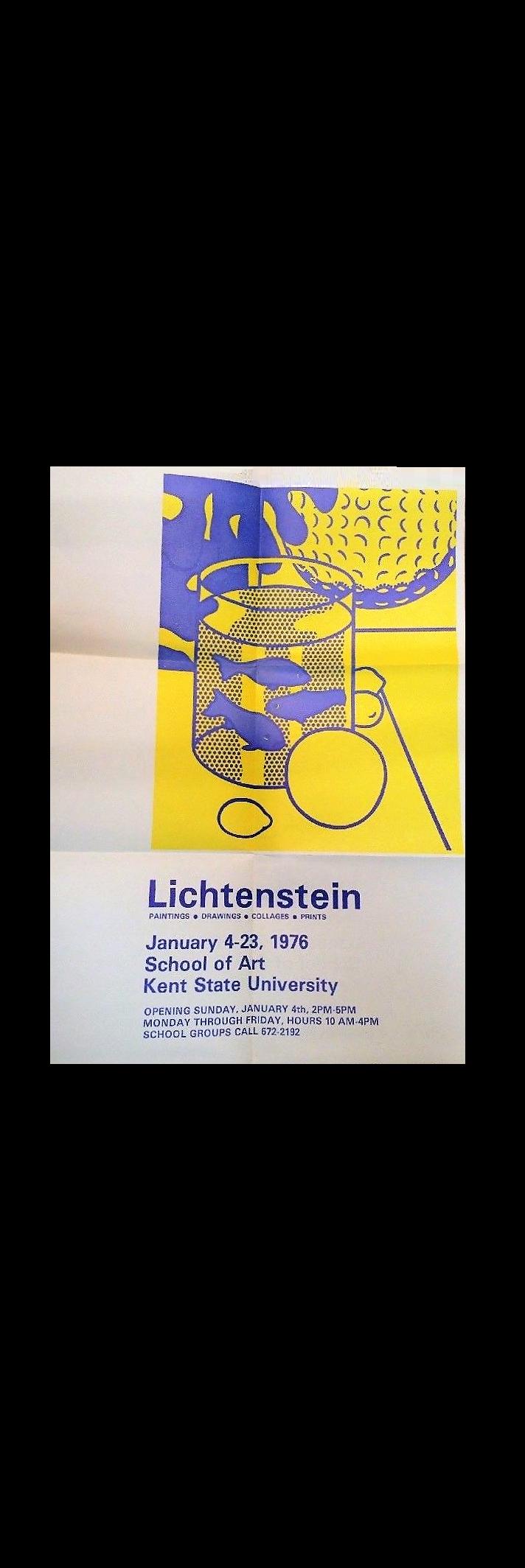 """""""LICHTENSTEIN"""",  1976, Exhibition Invitation/Poster, Kent State University School of Art,  SOLD"""