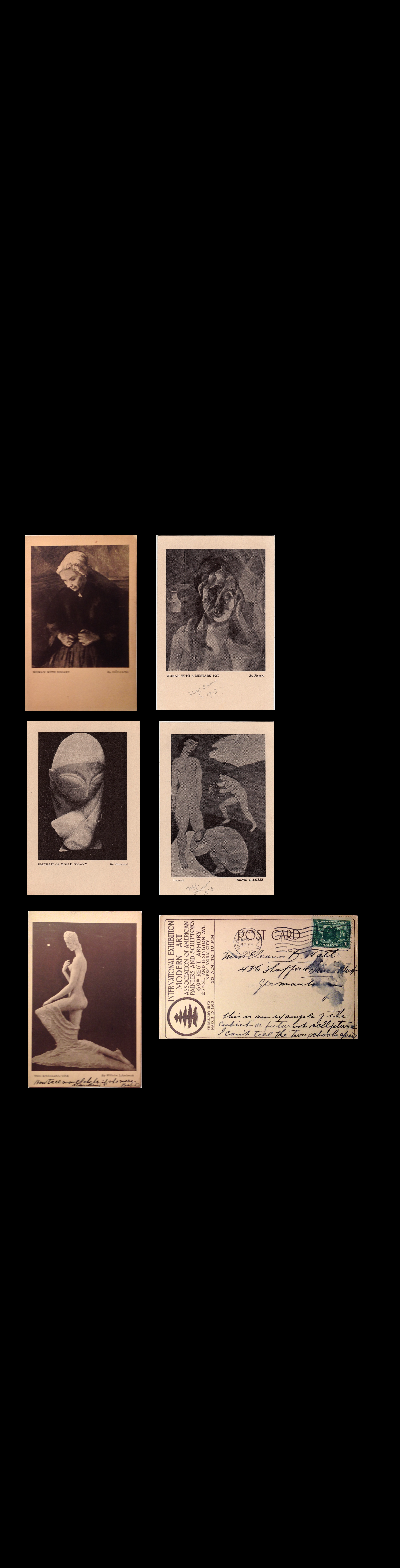 """1913 Armory Show"" , Exhibition Cards,  Brancusi, Cezanne, Lehmbruck, Matisse, Picasso."