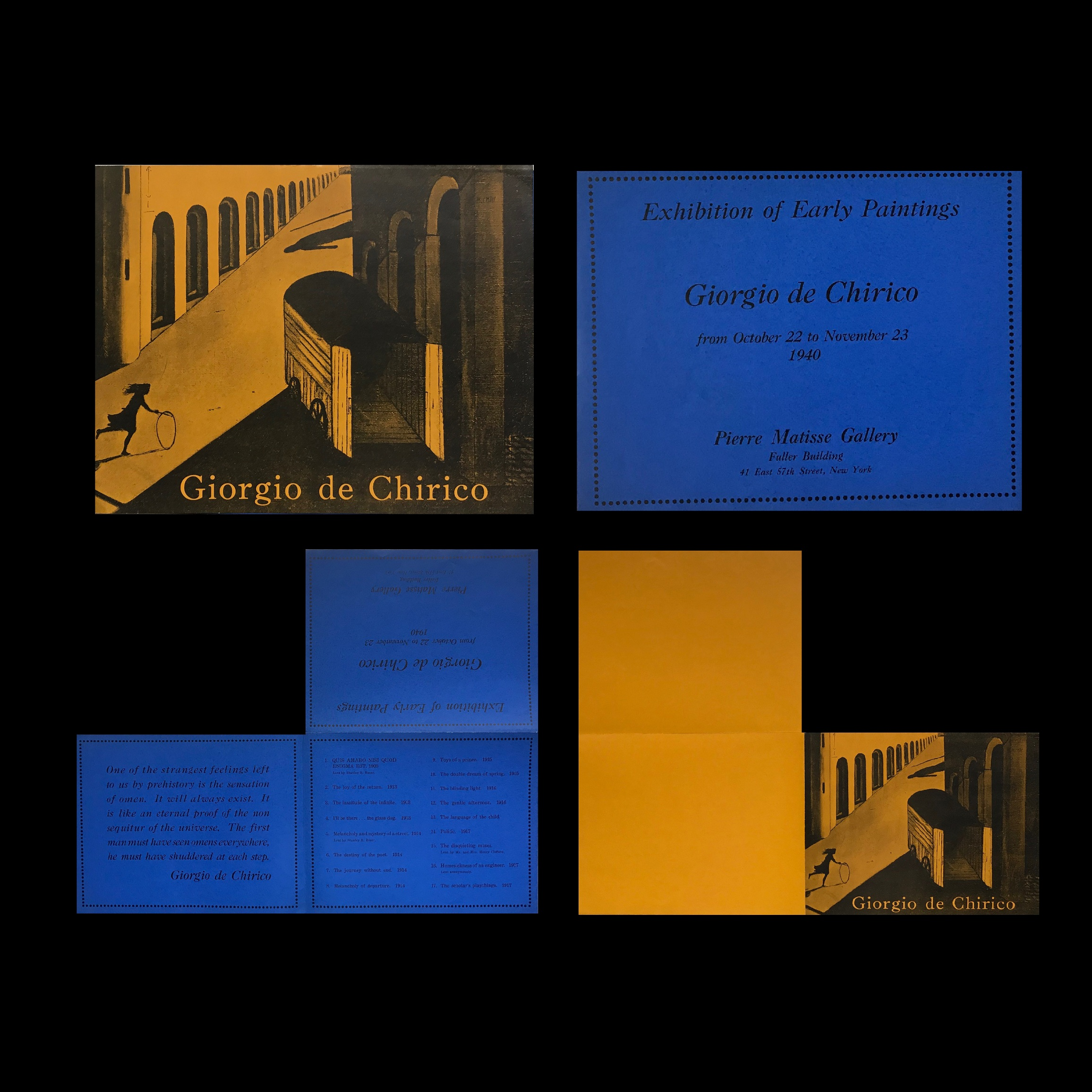 """""""Exhibitions of Early PAintings- Giorgio de Chirico"""" , 1940, Exhibition Announcement, Pierre Matisse Gallery- Fuller Building NYC."""