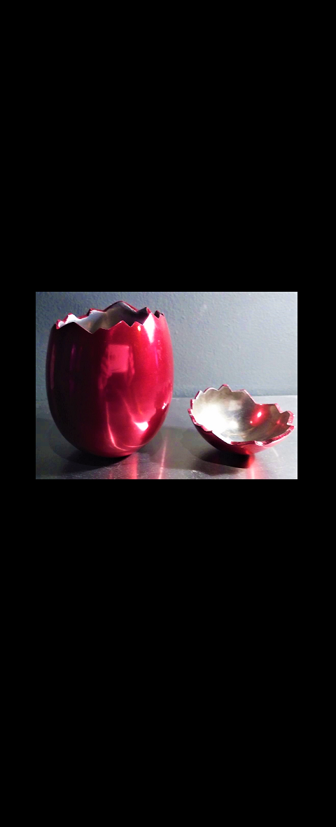 """Cracked Egg-Invitation"",  2006, Gala Invitation for LACMA, Red Enameled Aluminum Sculpture, not signed (as issued), with Original Box & Ribbon, Manufacturer: LACMA, 4.75 in. (tall)."