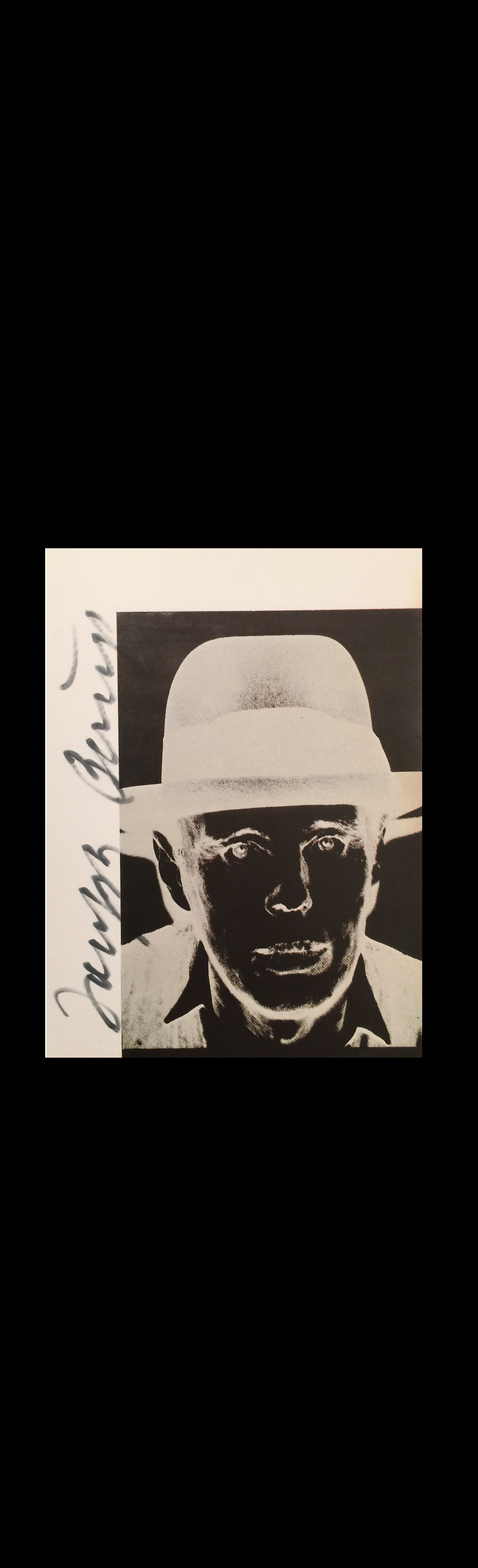 """BEUYS WARHOL"",  1980's, Signed by Beuys on a Warhol Catalogue Page."