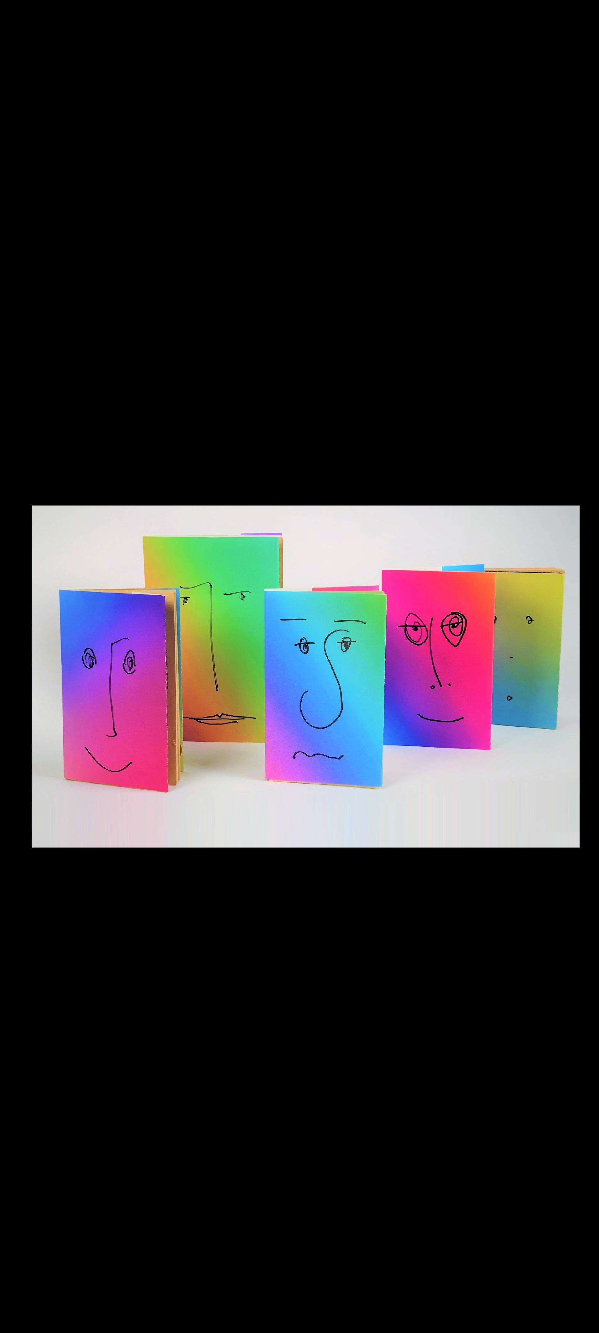 """""""GRADIENT FACES"""" , 2017, New Painted Dust Jackets for Vintage Paperbacks, Each UNIQUE."""