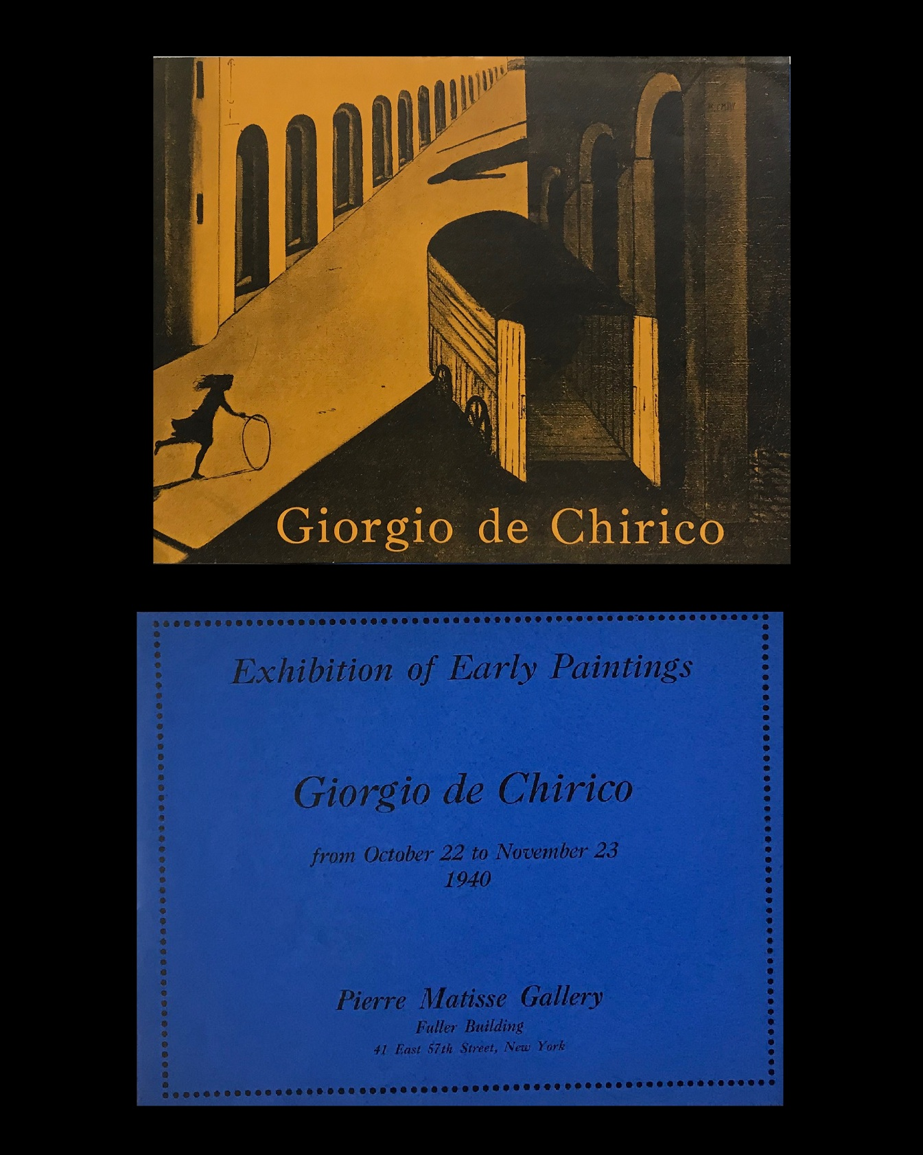 "GIORGIO de  CHIRICO-""EXHIBITIONS OF EARLY PAINTINGS-GIORGIO de CHIRICO"" , 1940, Exhibition Announcement, Pierre Matisse Gallery NYC."