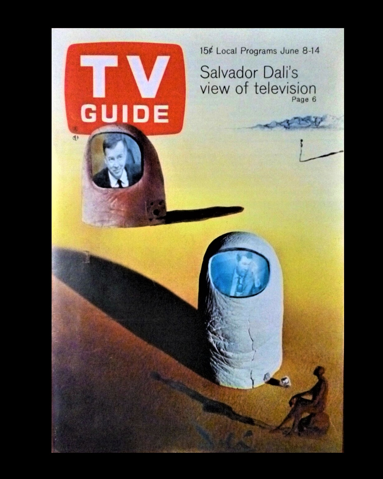 """SALVADOR DALI's VIEW ON TELEVISION"" , 1968, TV GUIDE, Article: ""He Prefers to Watch TV Upside Down"", NO mailing label."