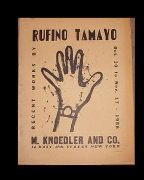 """RECENT WORKS BY RUFINO TAMAYO"",  1956, Exhibition Announcement / Poster, Knoedler Gallery NYC"