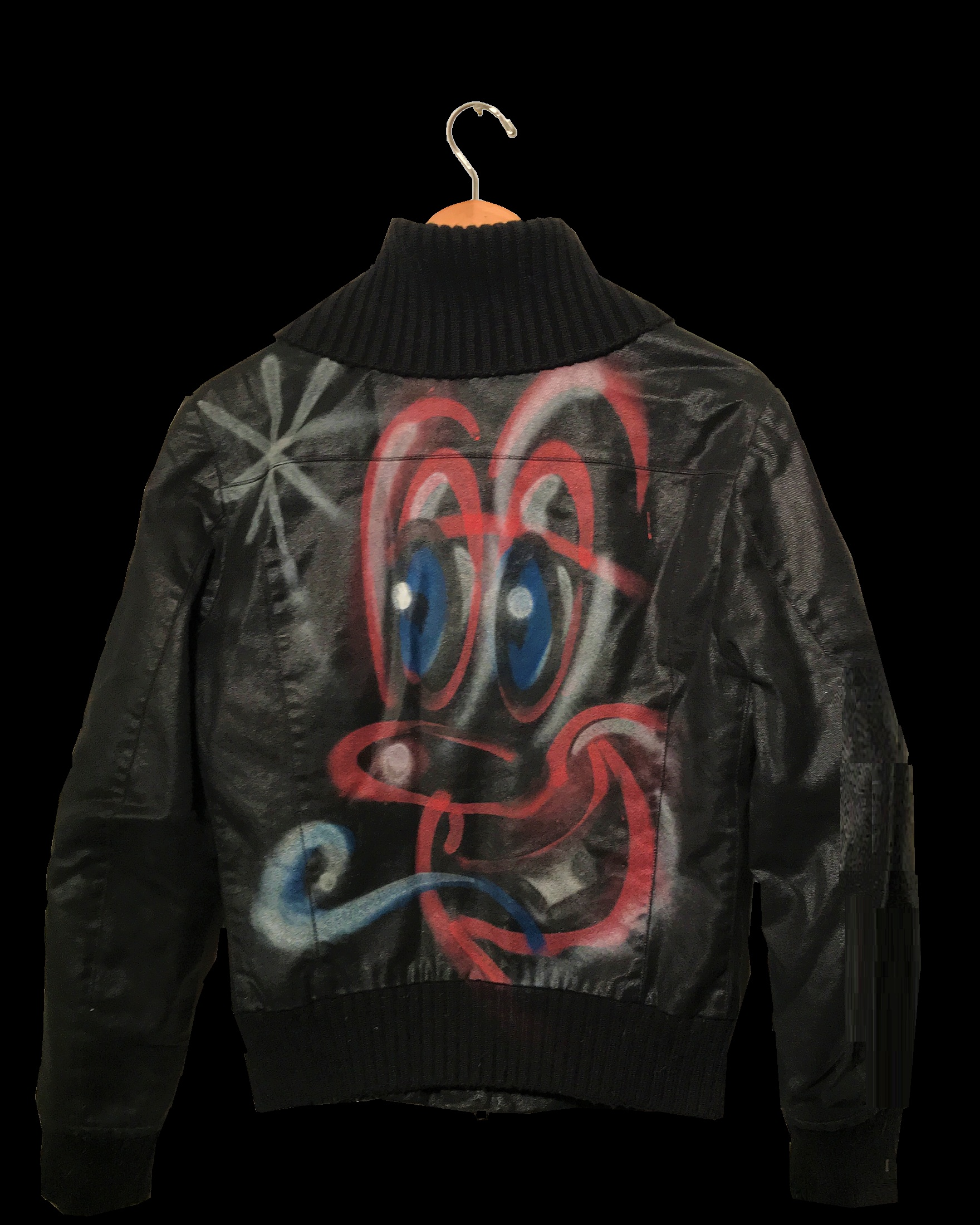 "kenny  SCHARF- ""BOMBER"" , 2015, Spray Paint on Bomber Jacket."