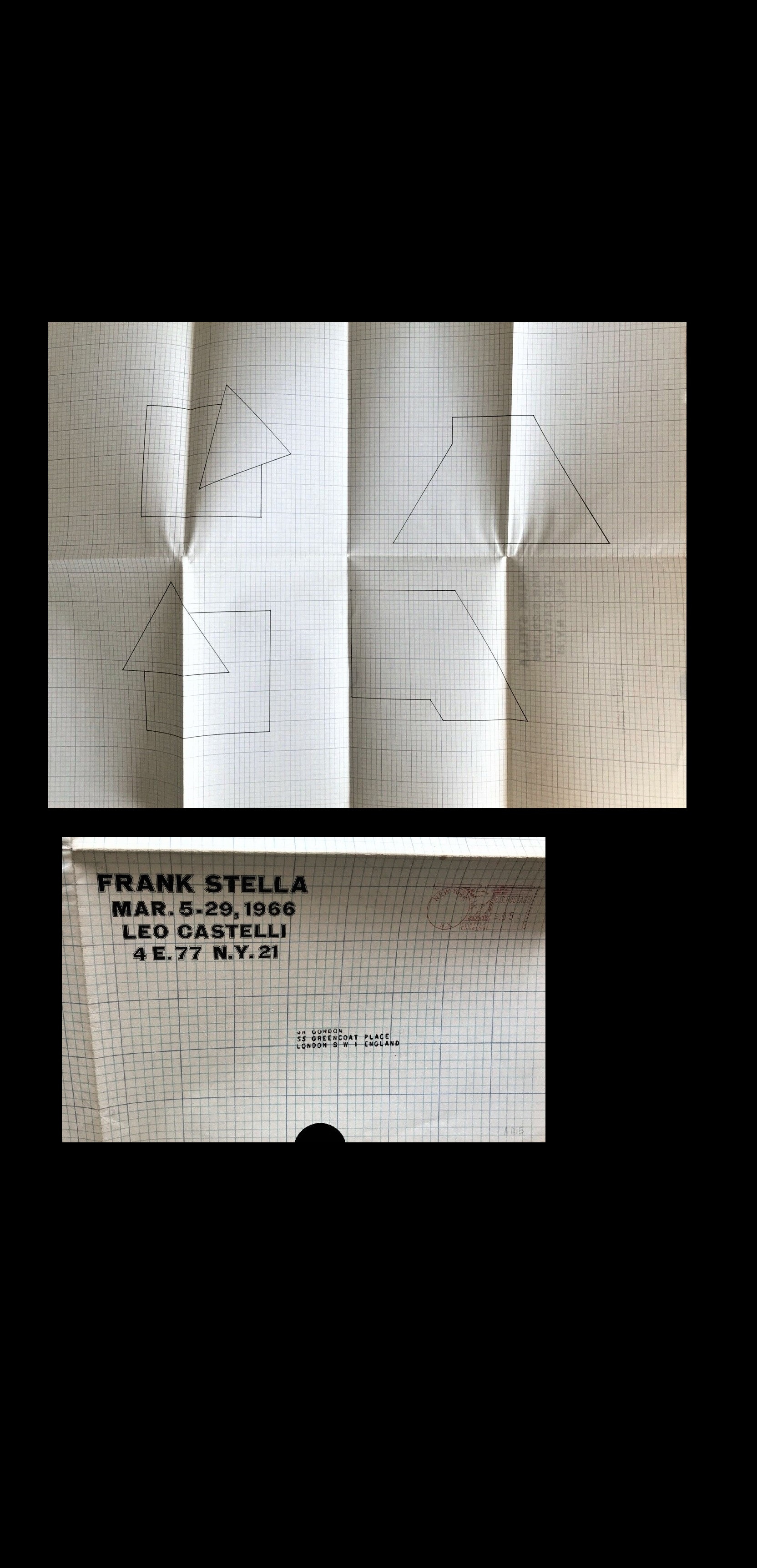 """FRANK STELLA"" , 1966, Exhibit Invite/Announcement, Leo Castelli Gallery NYC,"