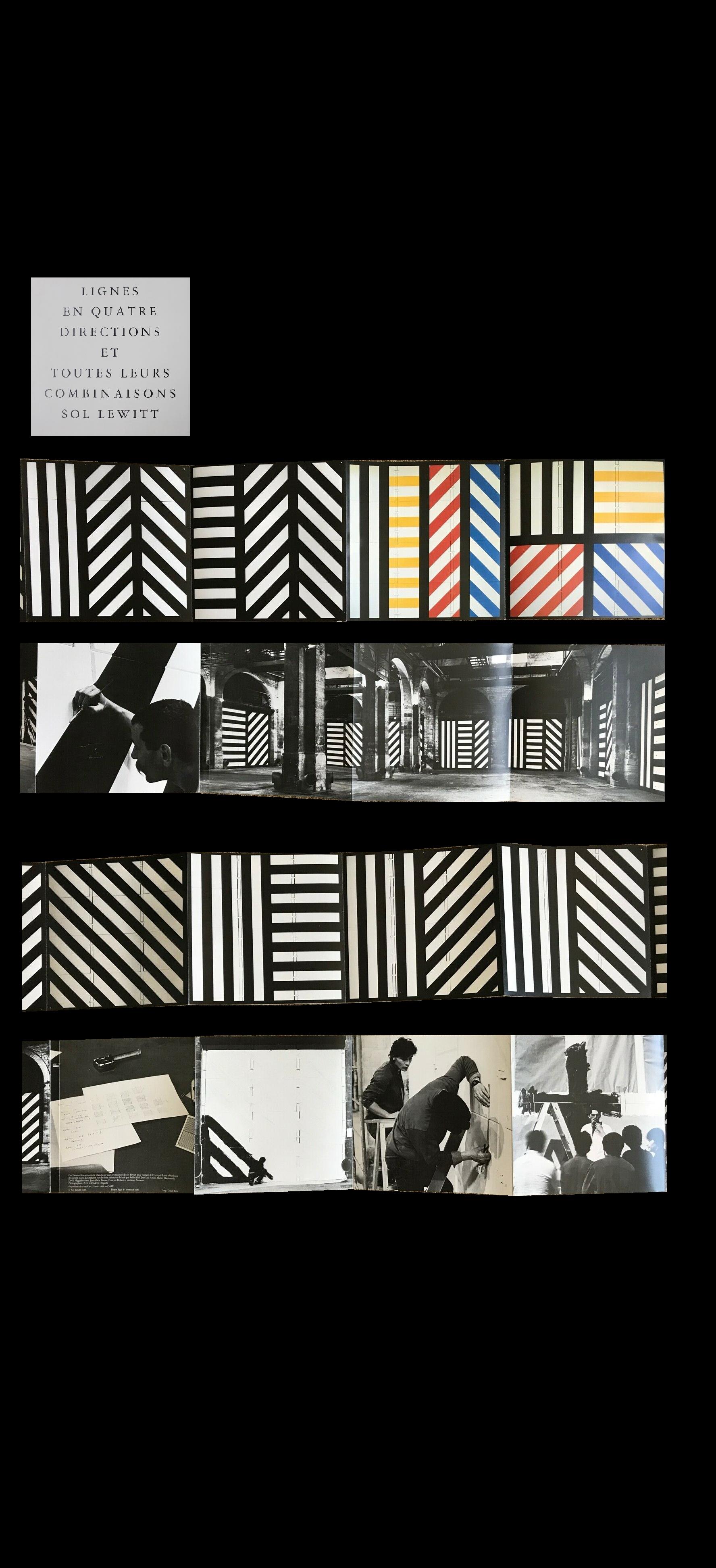 """sol  LEWITT - """"LIGNES EN QUATRE DIRECTIONS ET TOUTES LEURS COMBINAISONS SOL LEWITT"""", 1983, Exhibition Invitation/Catalogue, Musee D'Art Contemporain France"""