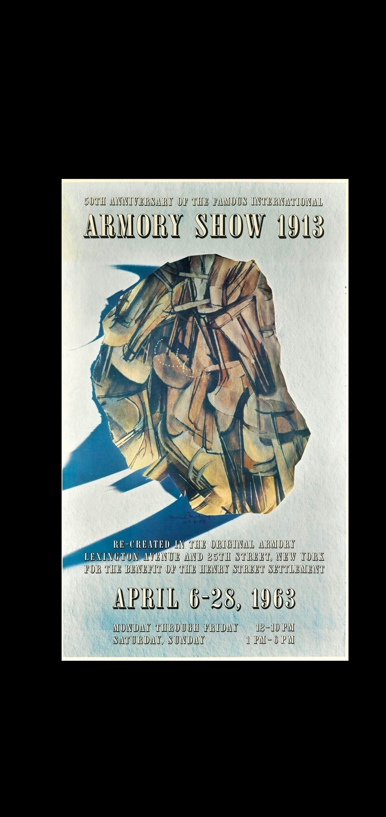 """50th Anniversary of the Famous International Armory Show 1913"" , Exhibition Poster Designed by Marcel Duchamp"