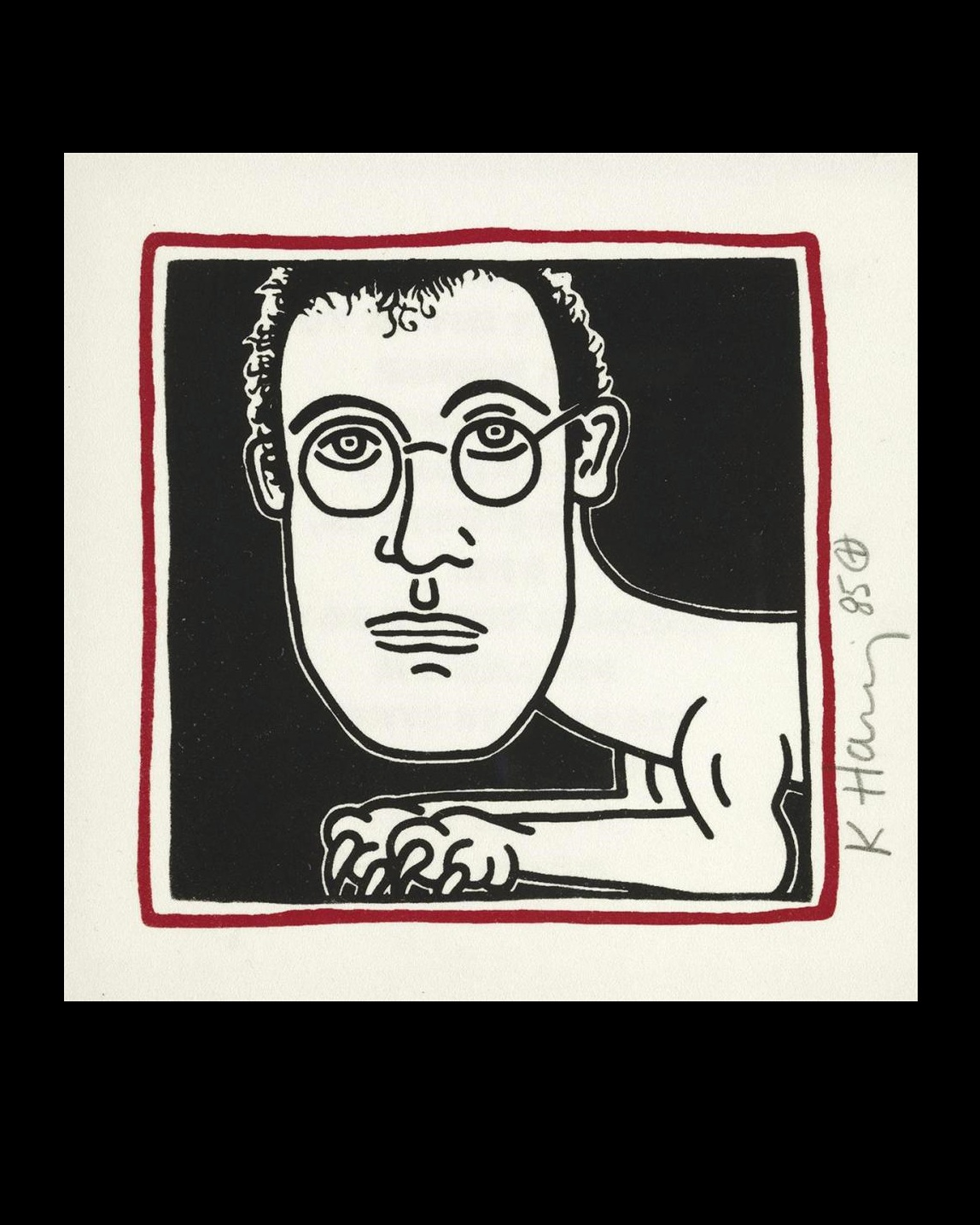 "keith  HARING- ""SELF-PORTRAIT"" (Invitation to Palladium Dinner) , 1985, color screenprint,, SIGNED/ Dated."