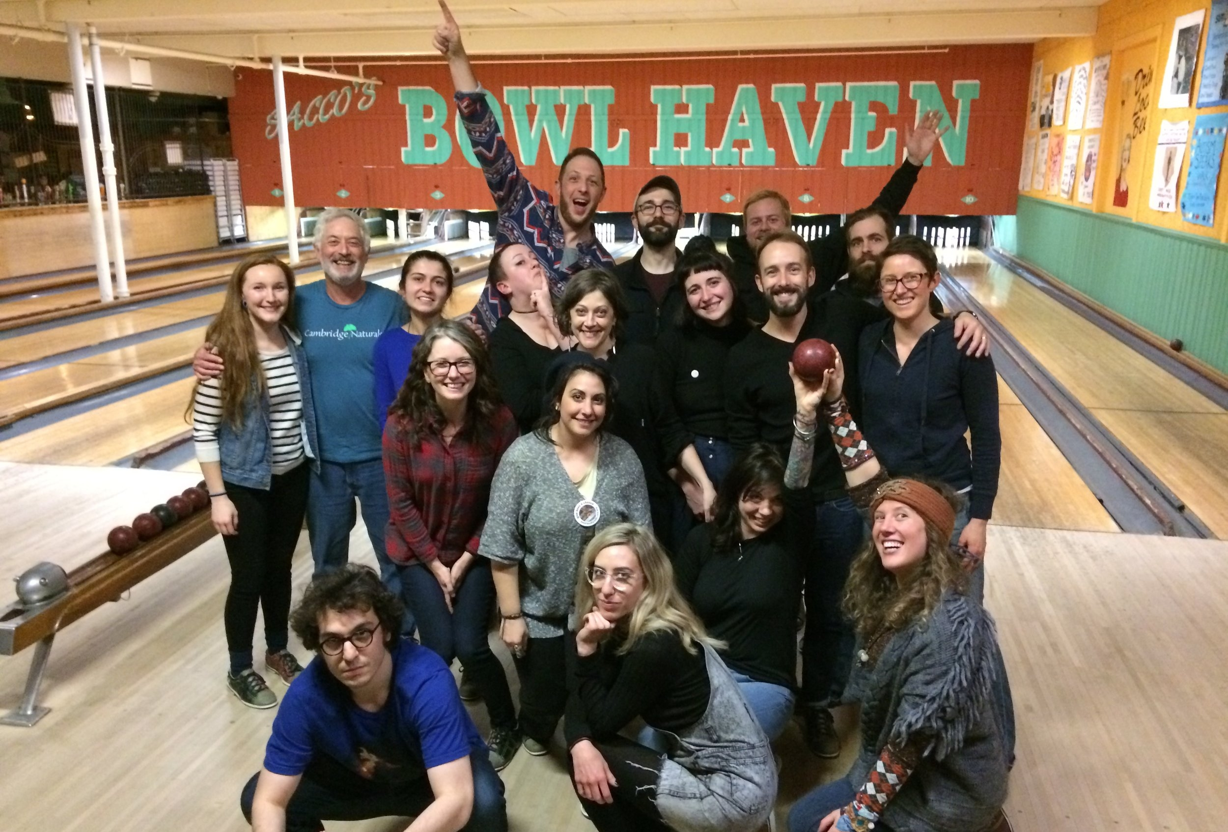 Some of our hilarious and hardworking team at our annual holiday bowling party