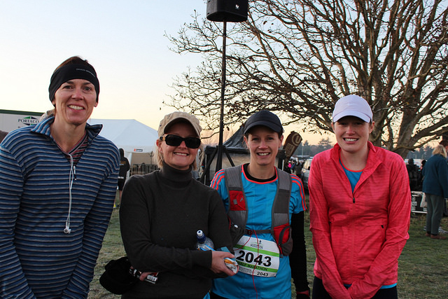 Michelle, Fiona, Jenny and Rachel before the Christchurch Half June 2014.