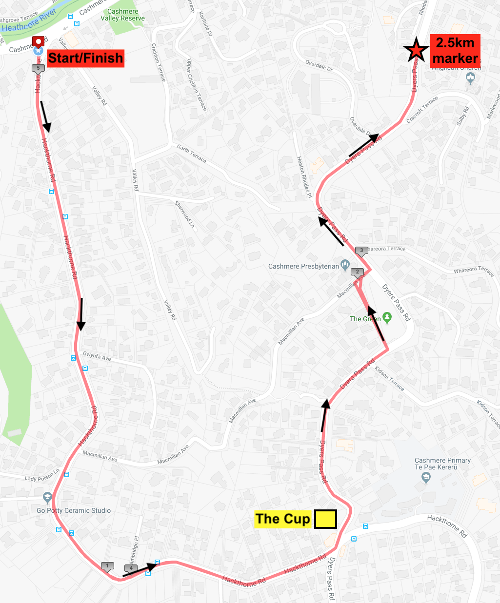 5km Hill Time Trial Course Map