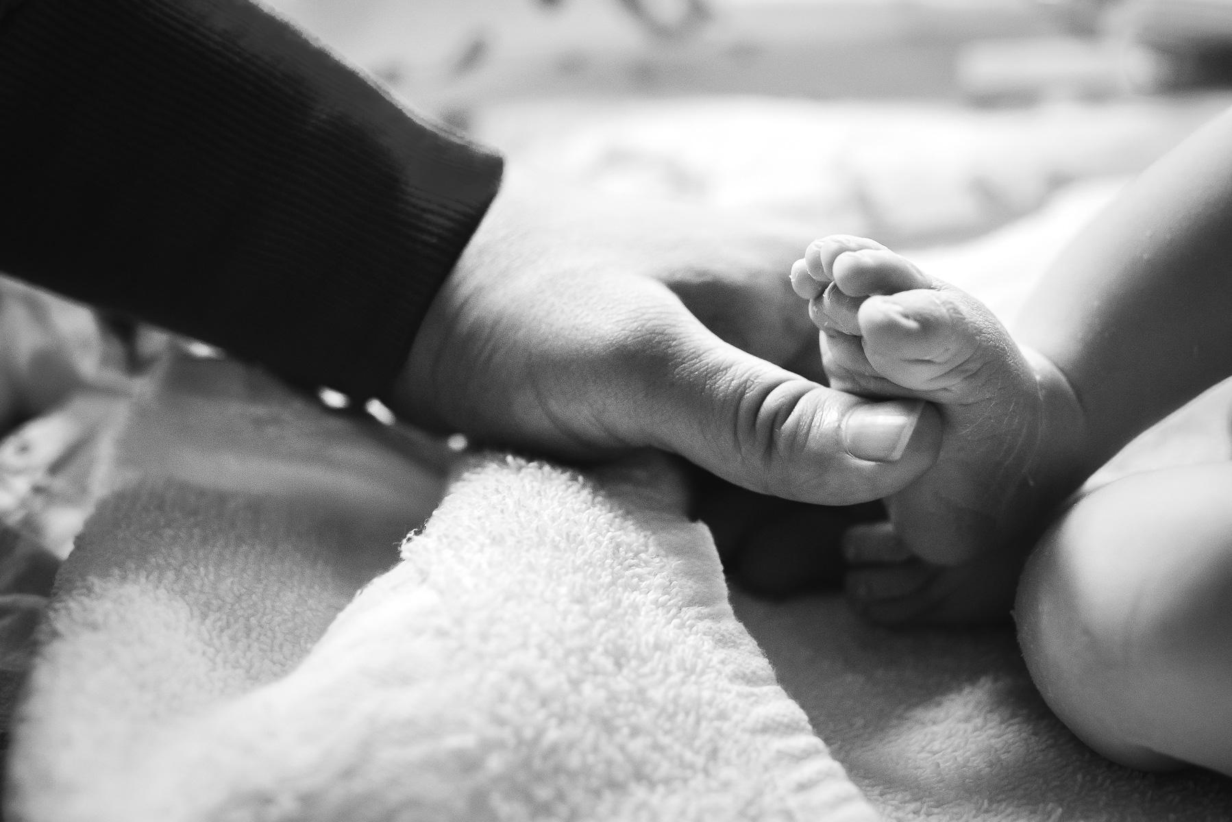 Denver-Birth-Photographer-Cesarean-Birth-Holding-Feet