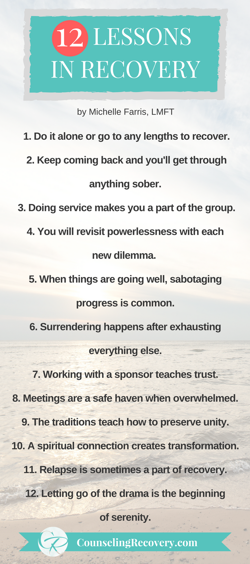 Lessons learned in 12 step recovery