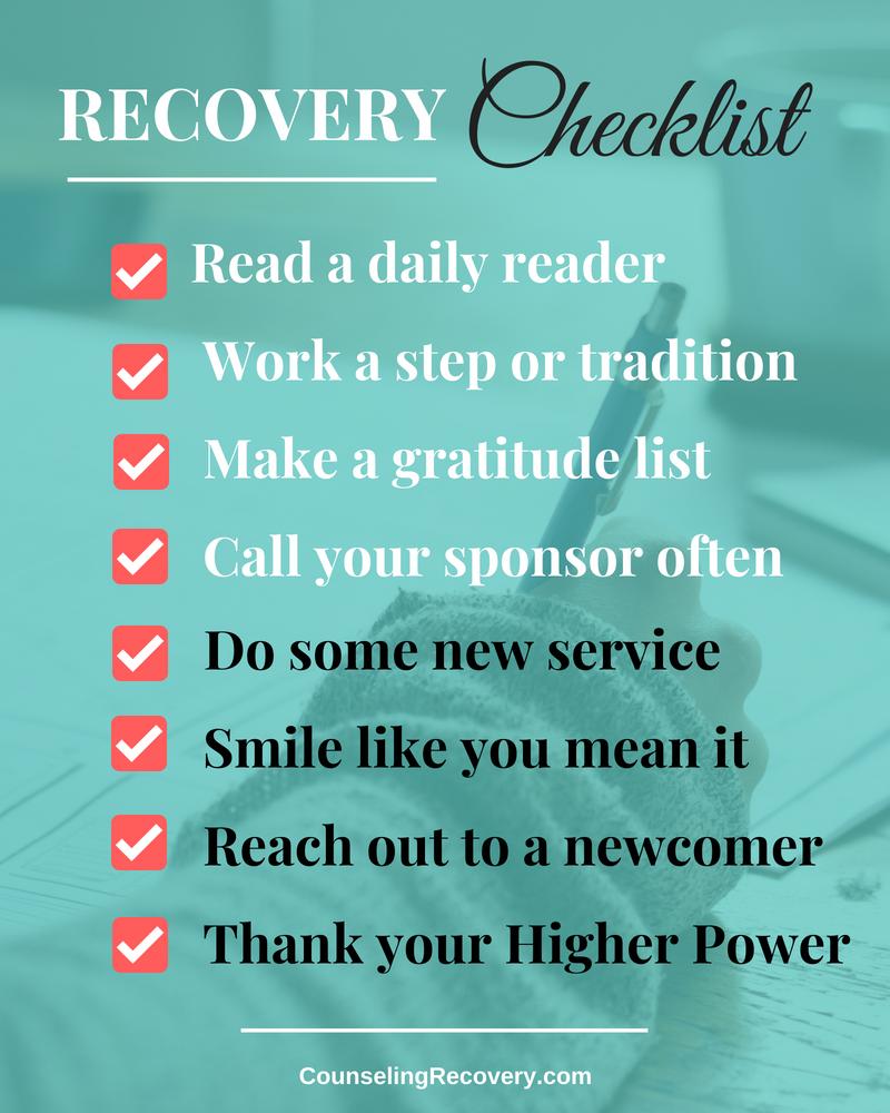 12 Step Recovery Checklist